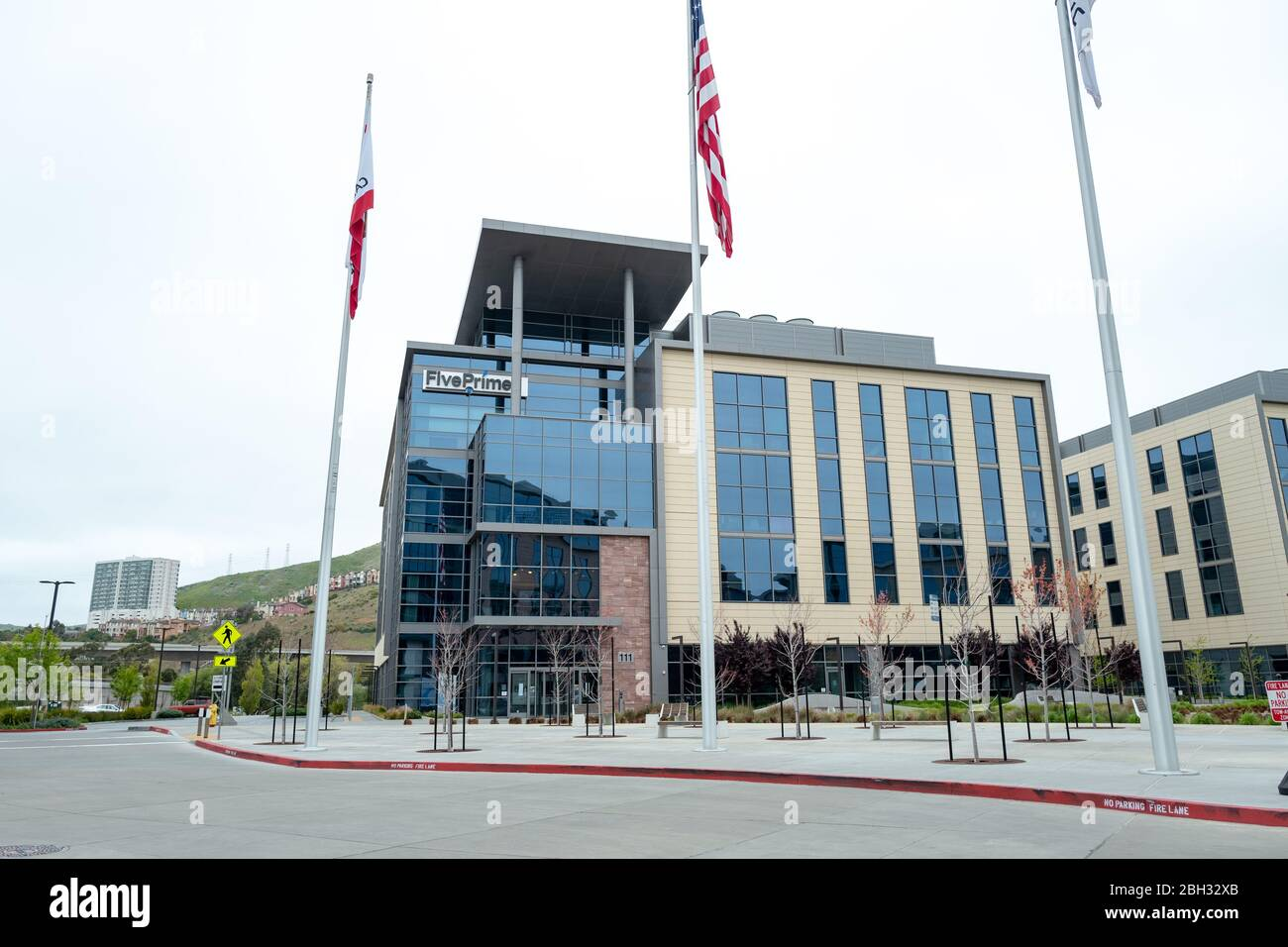 Facade with logo at office of Five Prime Therapeutics, South San Francisco, California, April 11, 2020. () Stock Photo