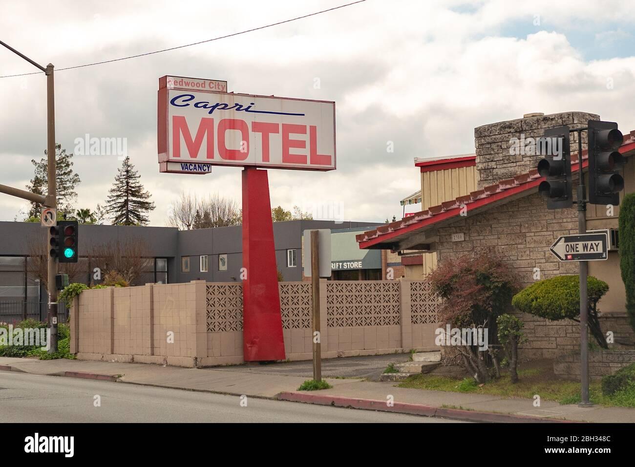 Sign for the Capri Motel in the Silicon Valley, Foster City, California, April 10, 2020. () Stock Photo