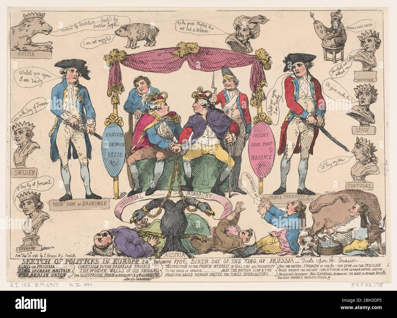 Sketch of Politiks in Europe, Birthday of the King of Prussia, February 10, 1786. Stock Photo