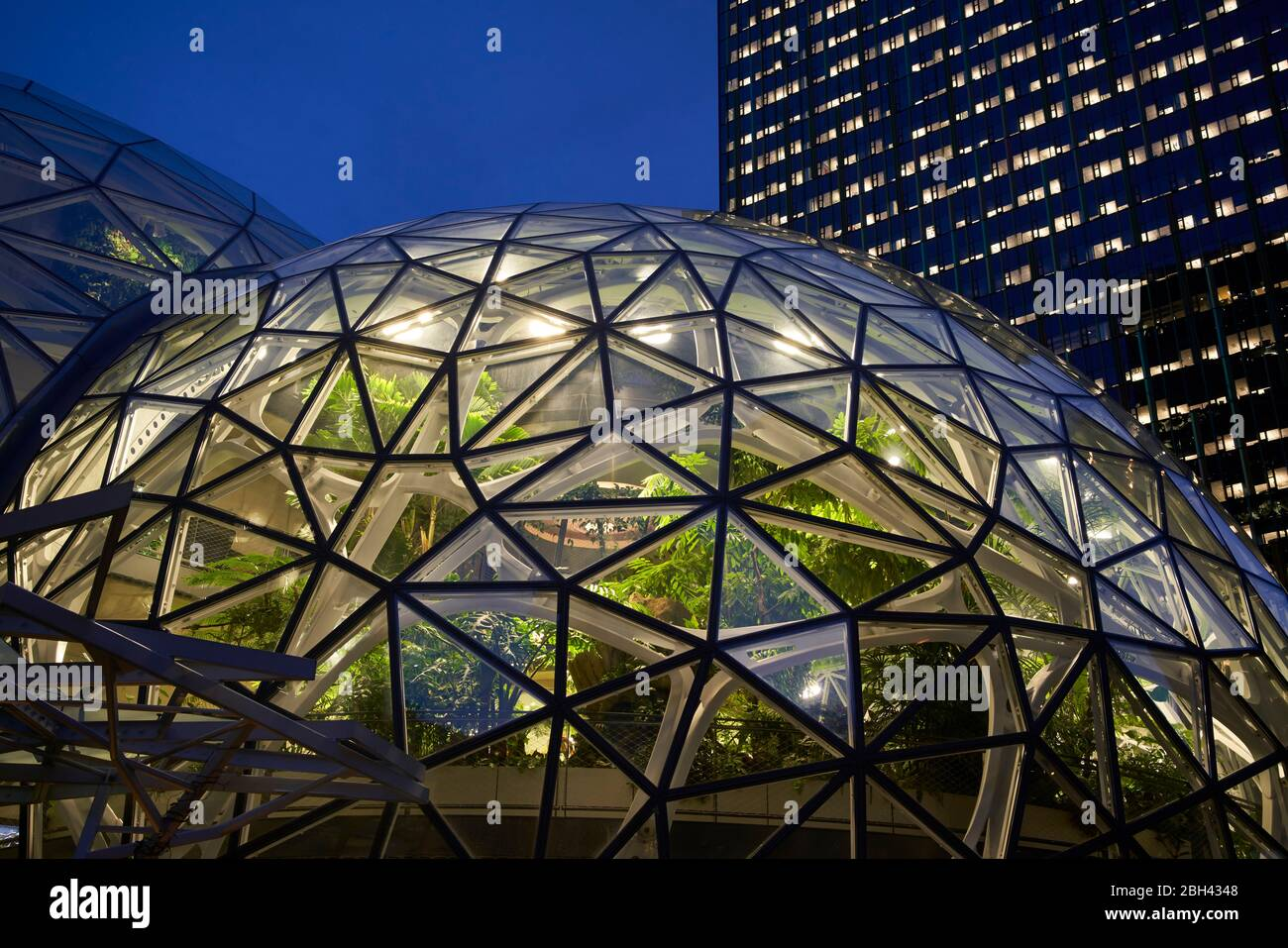 Evening light at the Spheres at Amazon's World Headquarters in Seattle, WA. Stock Photo