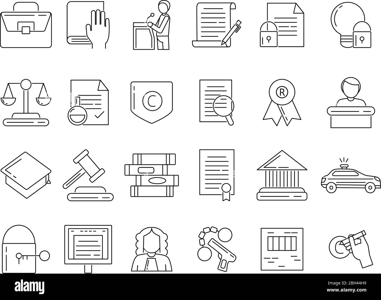 Linear symbols of lawyer, criminals and copyright protection. Jurisprudence legal, tribunal and judgment line style. Vector illustration Stock Vector