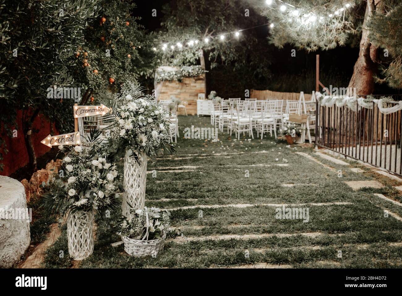 Night Wedding Outdoor Decoration Decorated Meadow For Wedding Ceremony Stock Photo Alamy