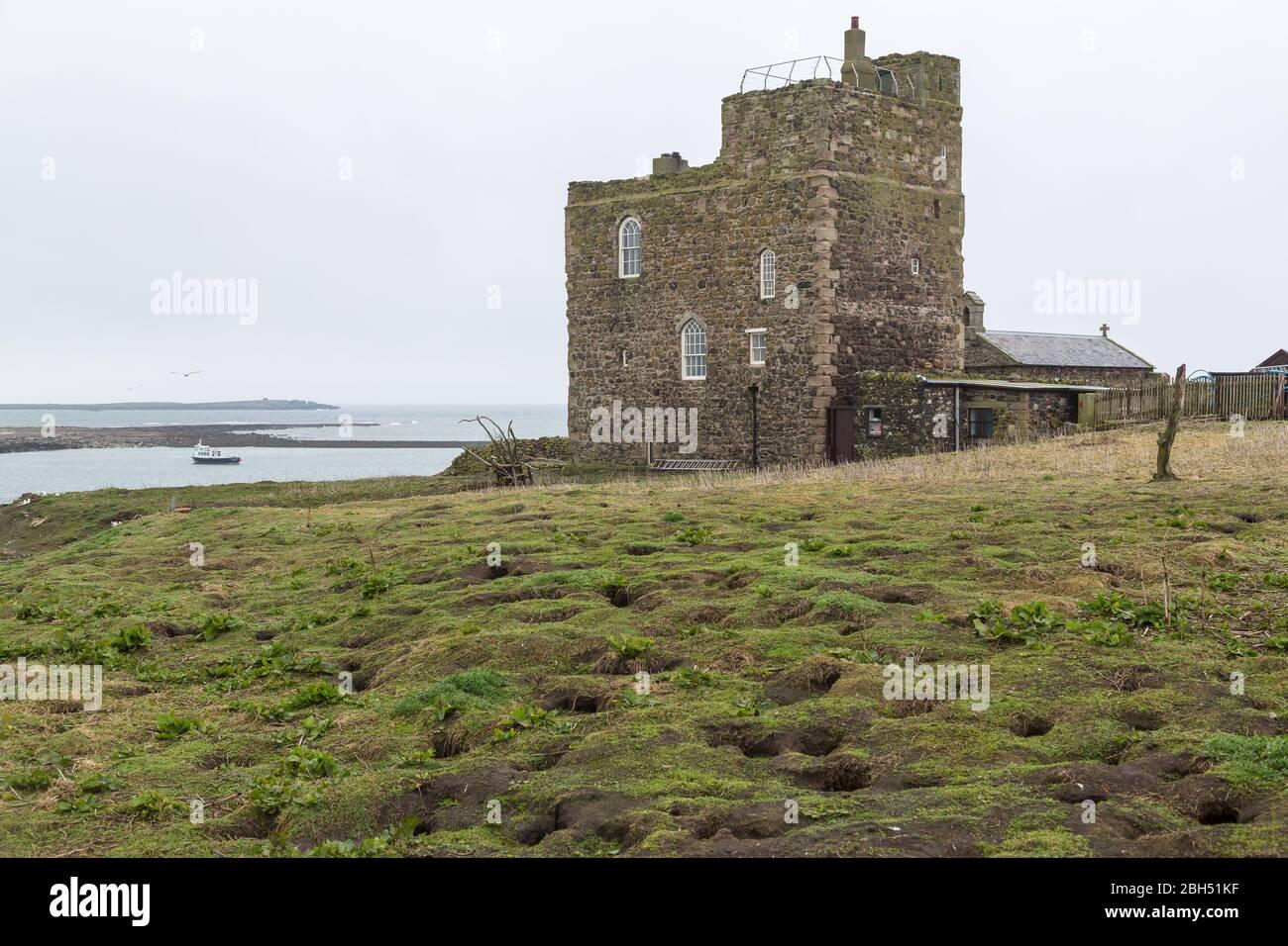 Pele Tower Farne Island Northumberland Stock Photo