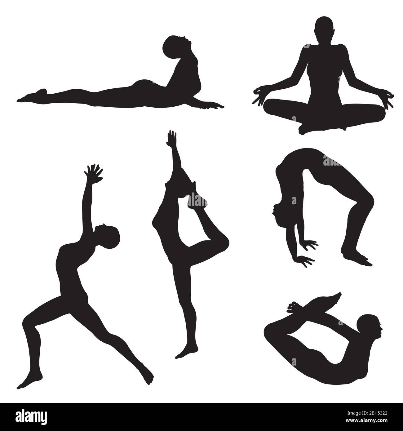 Yoga Poses Black and White Stock Photos & Images - Alamy
