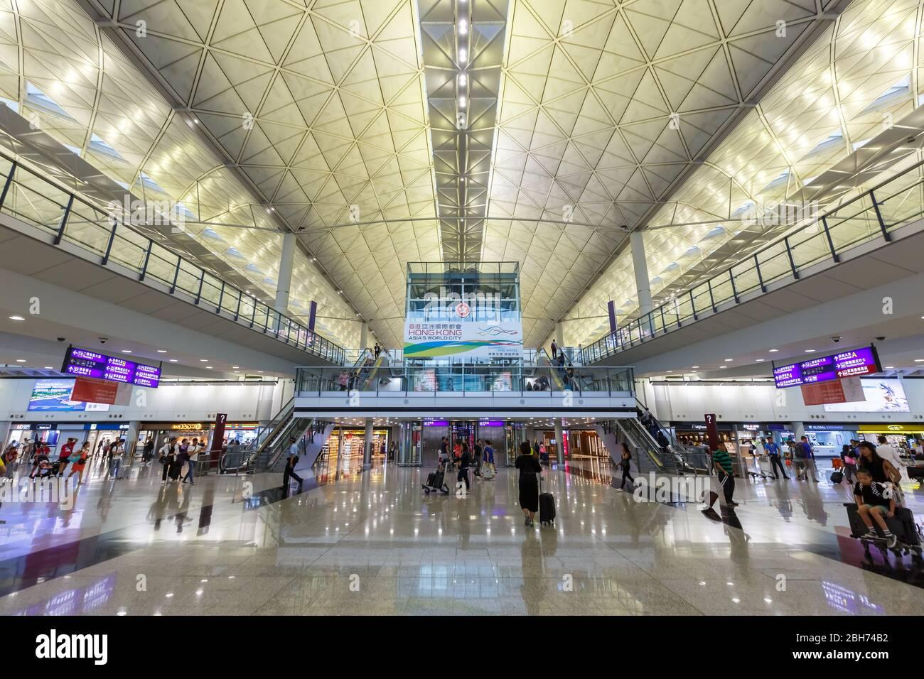 Hong Kong, China – September 20, 2019: Terminal at Hong Kong airport (HKG) in China. Stock Photo