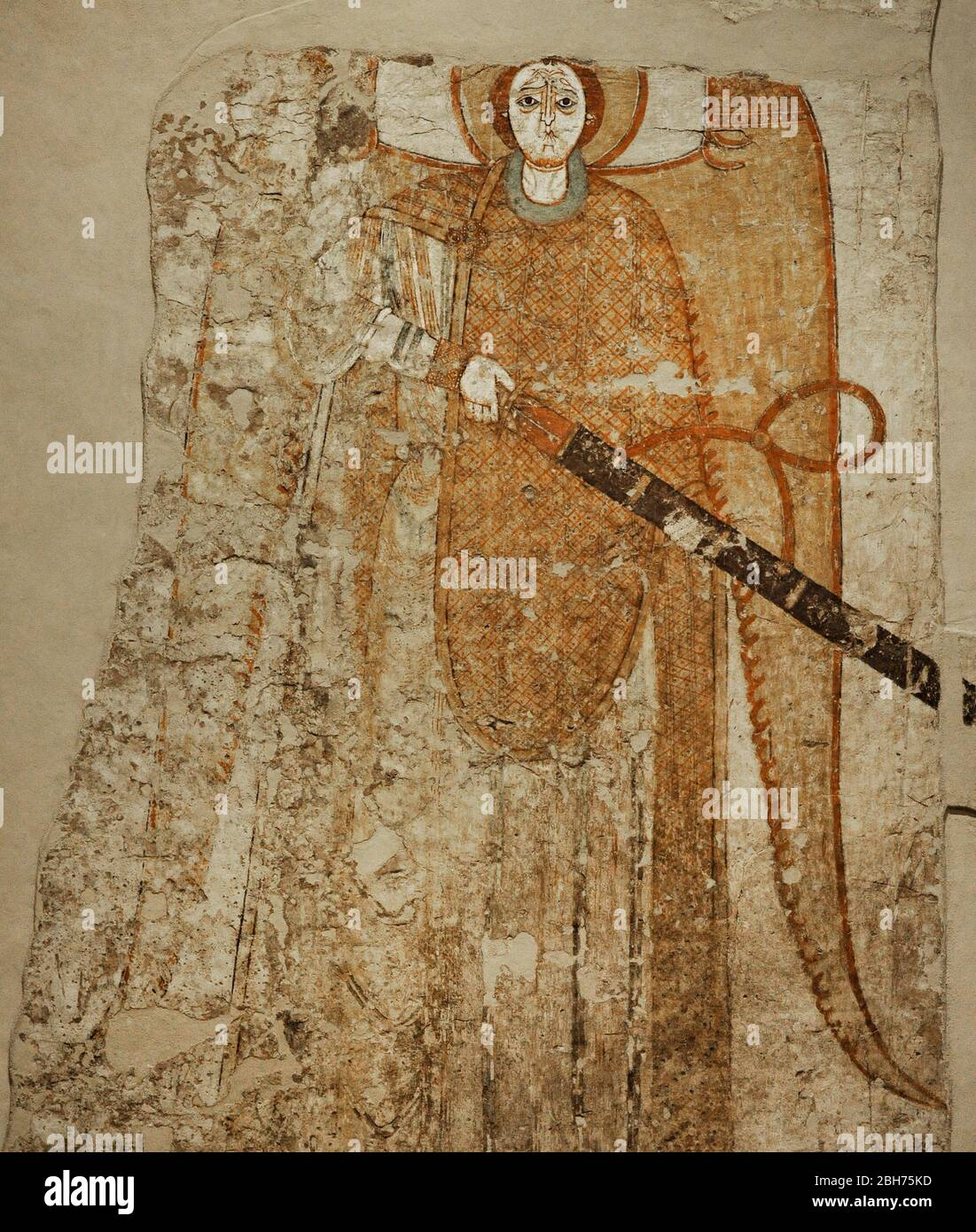 Fresco depicting an archangel with sword. Porch of the southern entrance. Cathedral of Faras. 12th-13th centuries. Faras Gallery. National Museum. Warsaw. Poland. Stock Photo
