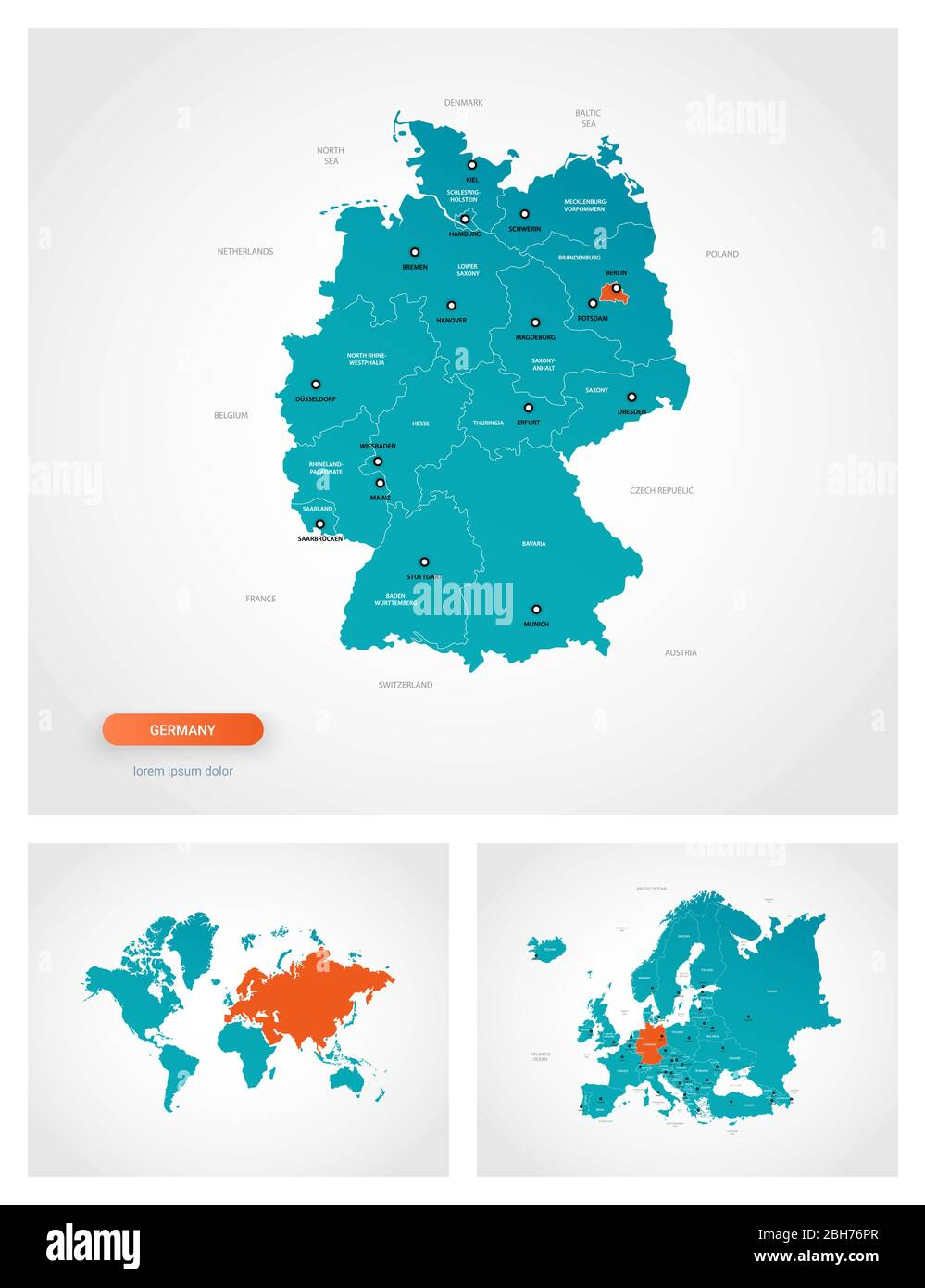 Picture of: Editable Template Of Map Of Germany With Marks Germany On World Map And On Europe Map Stock Vector Image Art Alamy