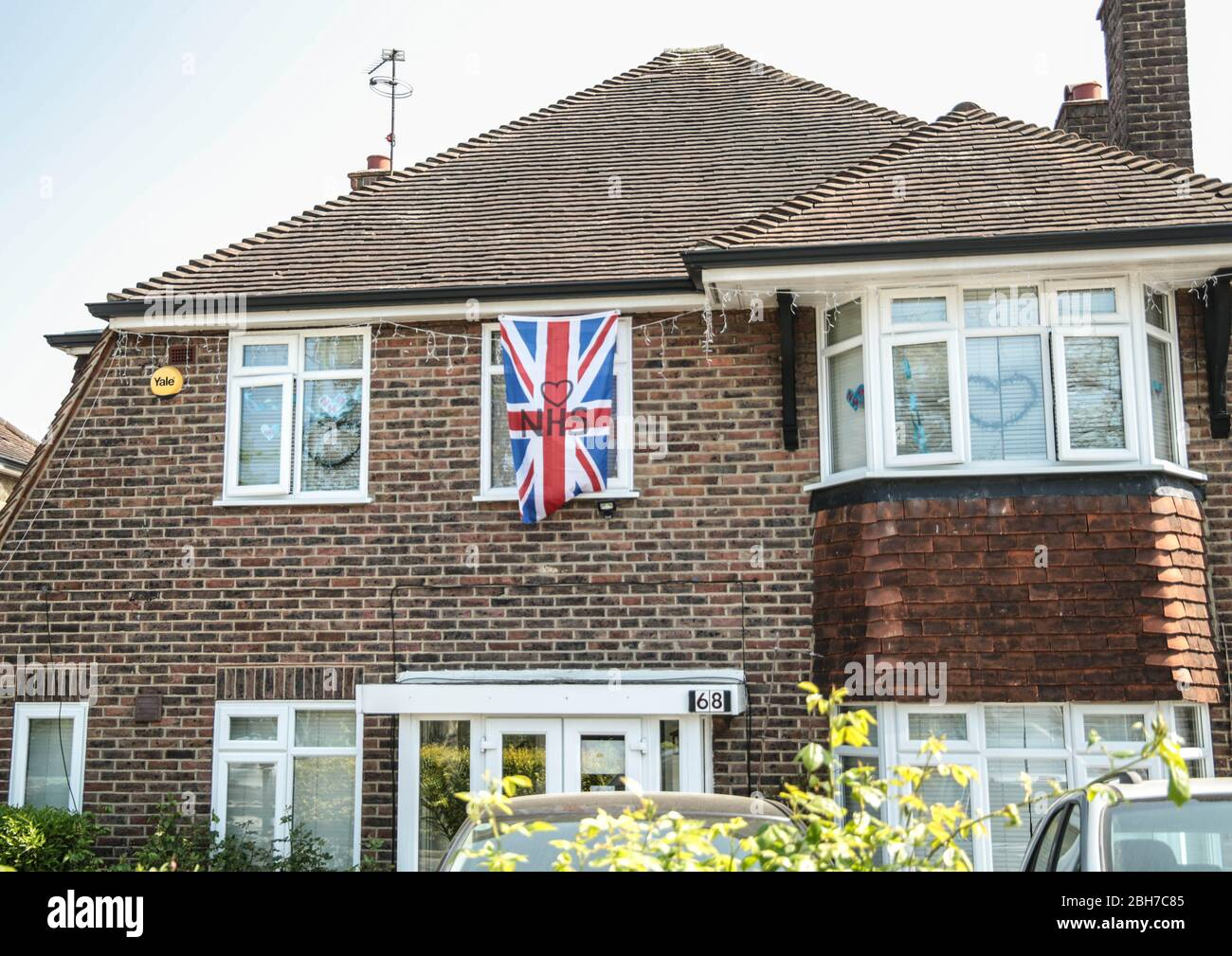 London UK Friday 24 April 2020 Messages of support for the  NHS, in homes and businesses around Sutton, South London .Paul Quezada-Neiman/Alamy Live News Stock Photo
