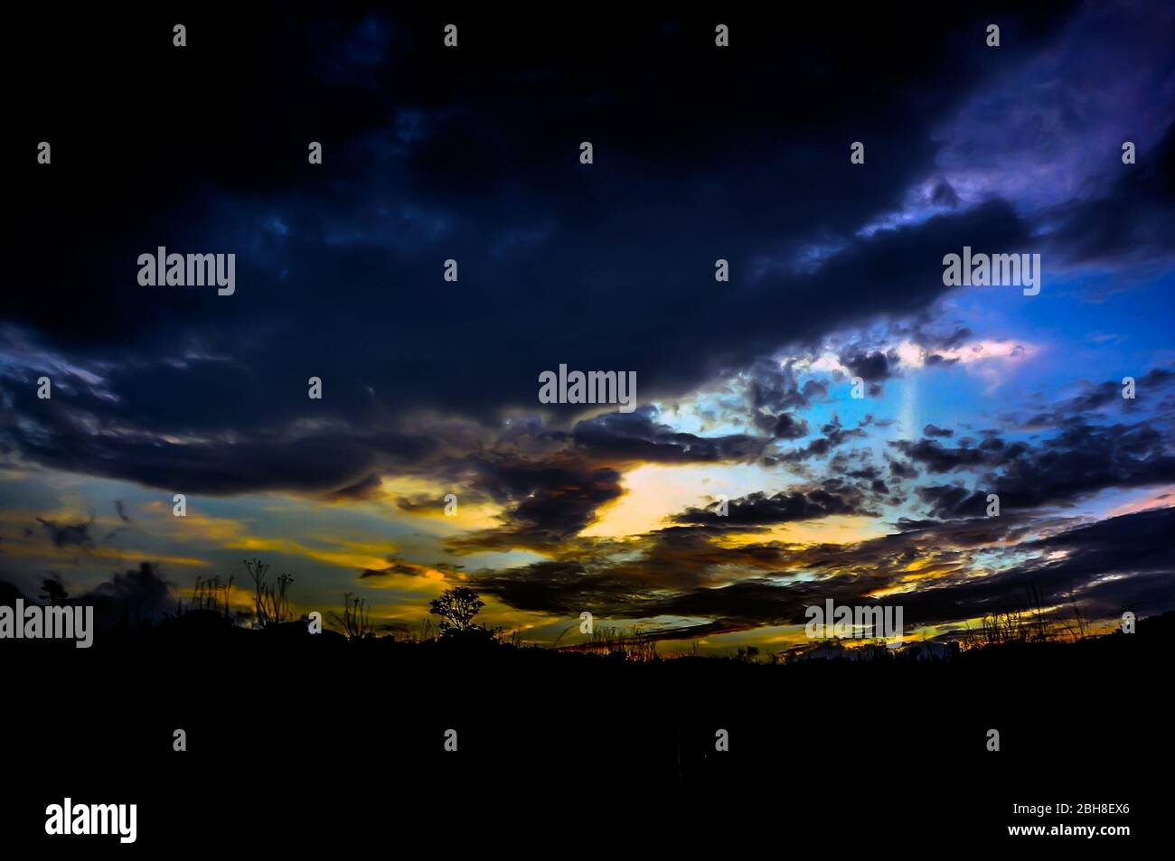 Sunset over Mount Ijen, East Java, Indonesia Stock Photo