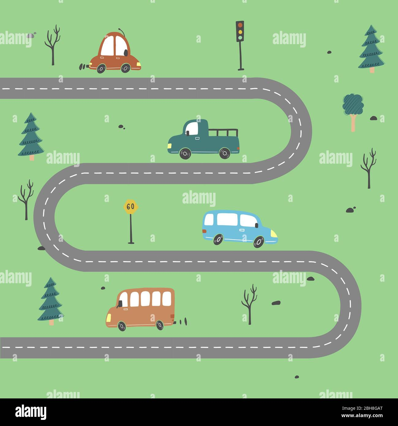 Cartoon Cute Kids Map With Car Road City Landscape Elements Cars Building Road Of Hand Drawn Children Toy Style Vector Illustration Stock Vector Image Art Alamy