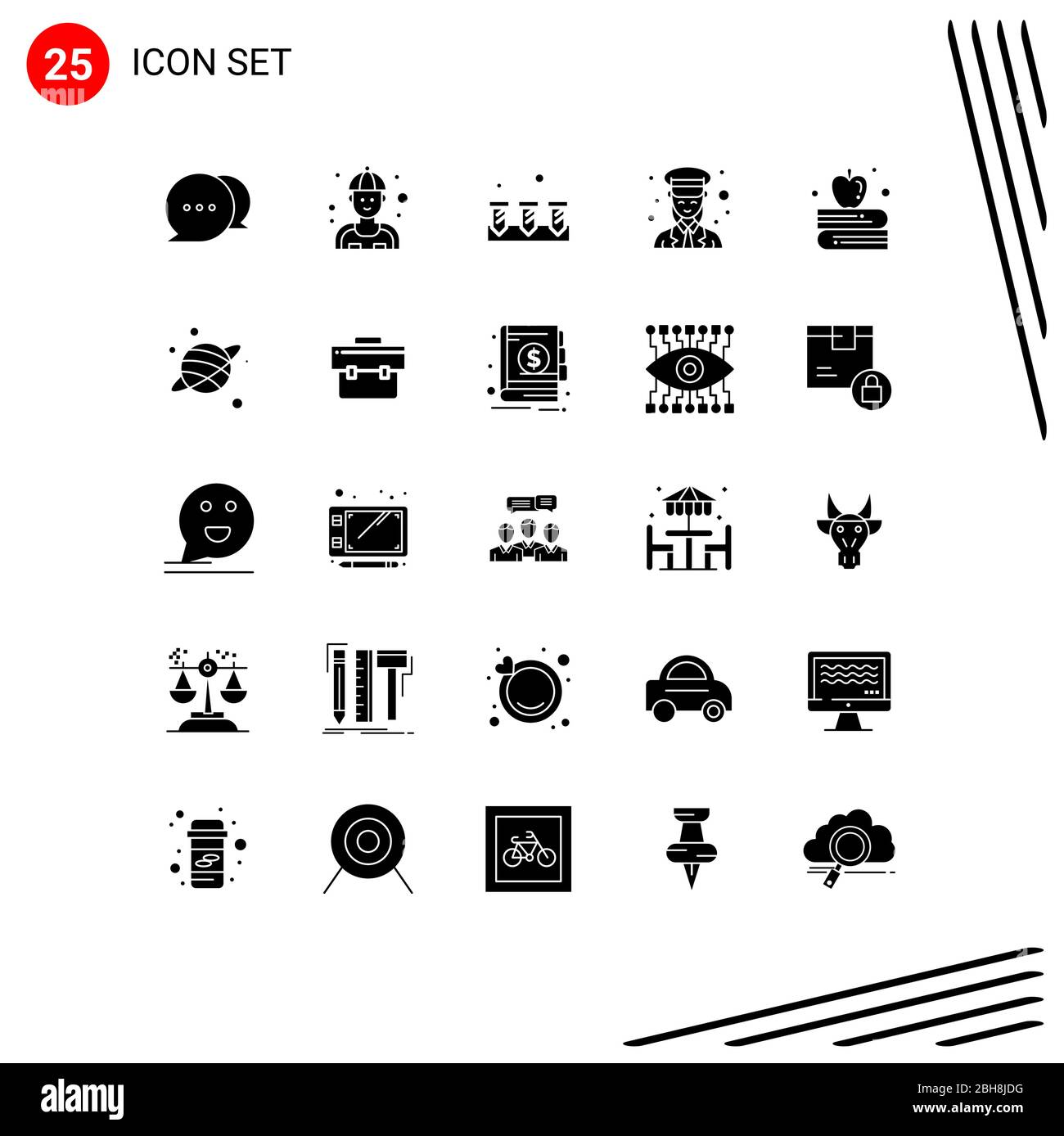 Set Of 25 Commercial Solid Glyphs Pack For Apple On Book Women Construction Police Guard Editable Vector Design Elements Stock Vector Image Art Alamy