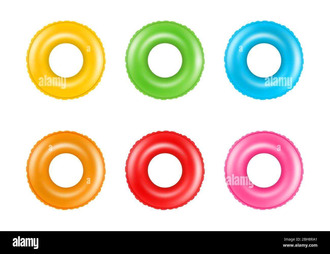 Set of colorful swimming rings. Collection of inflatable rubber rings. Floating summer toys. Stock Photo