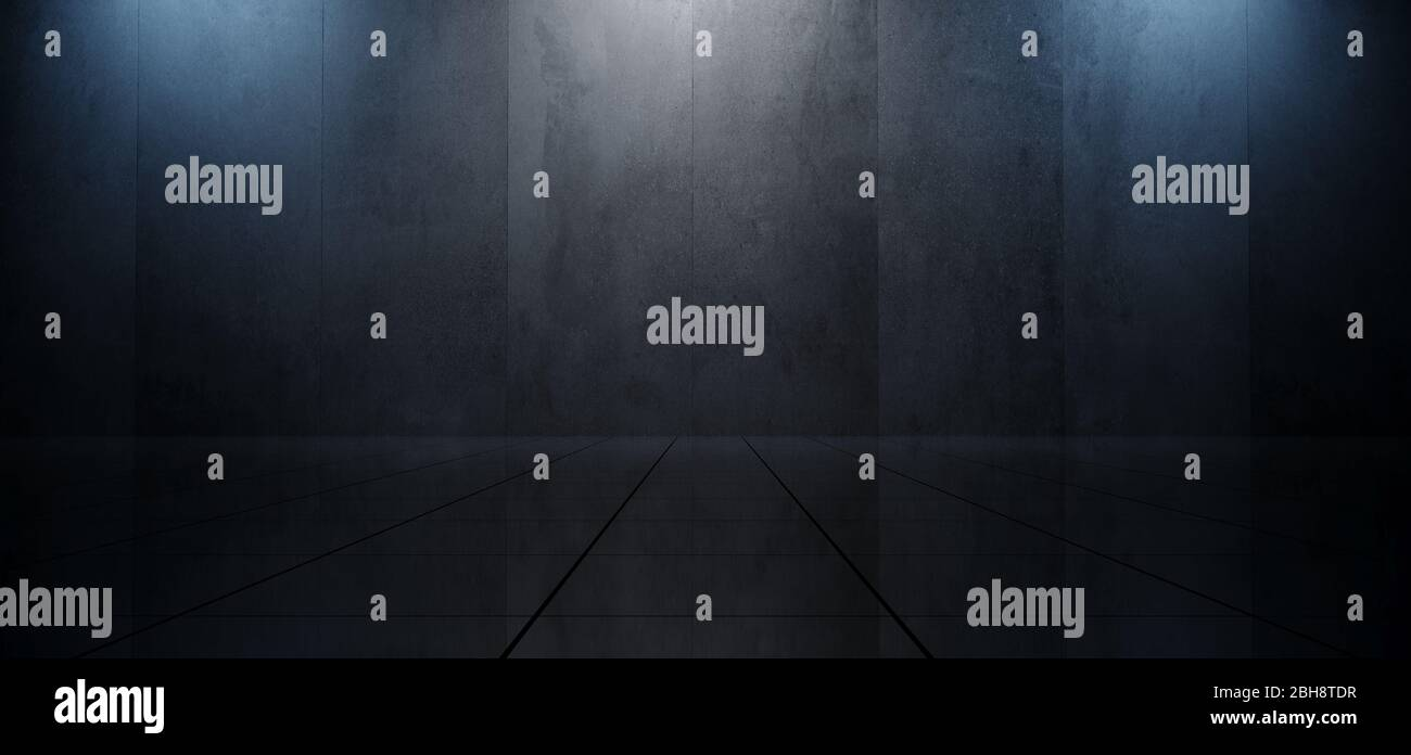 Empty Plane Grunge Concrete Wall Spotlights Stage Podium Reflective Tiled Floor Glossy Showroom Blue White Colors Elegant Ambient Background 3D Render Stock Photo
