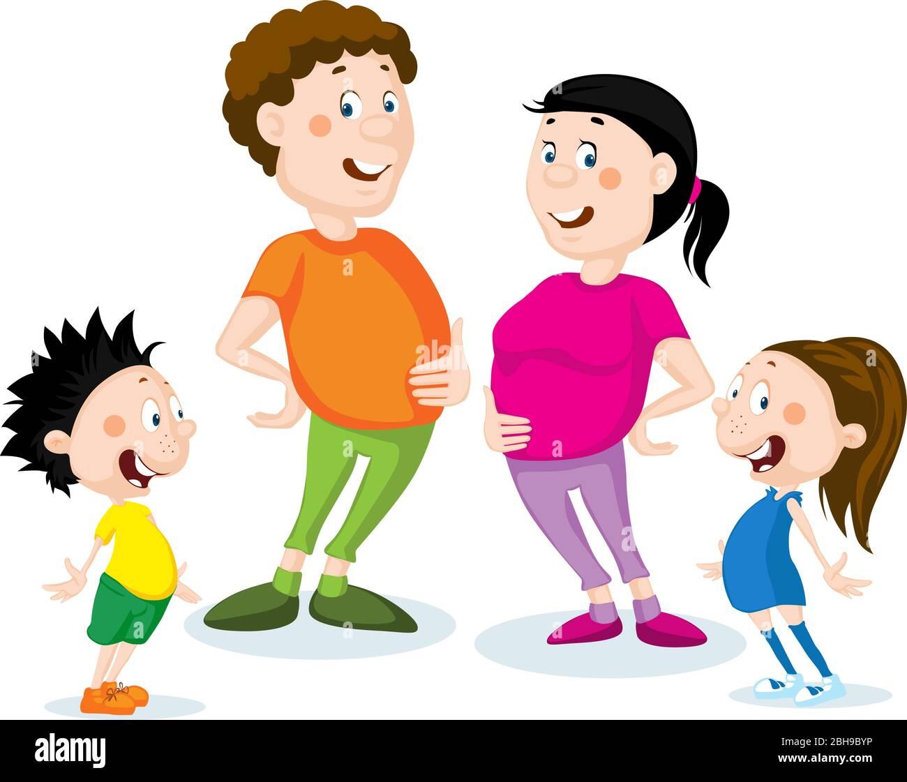 Fat Family Cartoon Flat Design Illustration Isolated On White Stock Vector Image Art Alamy