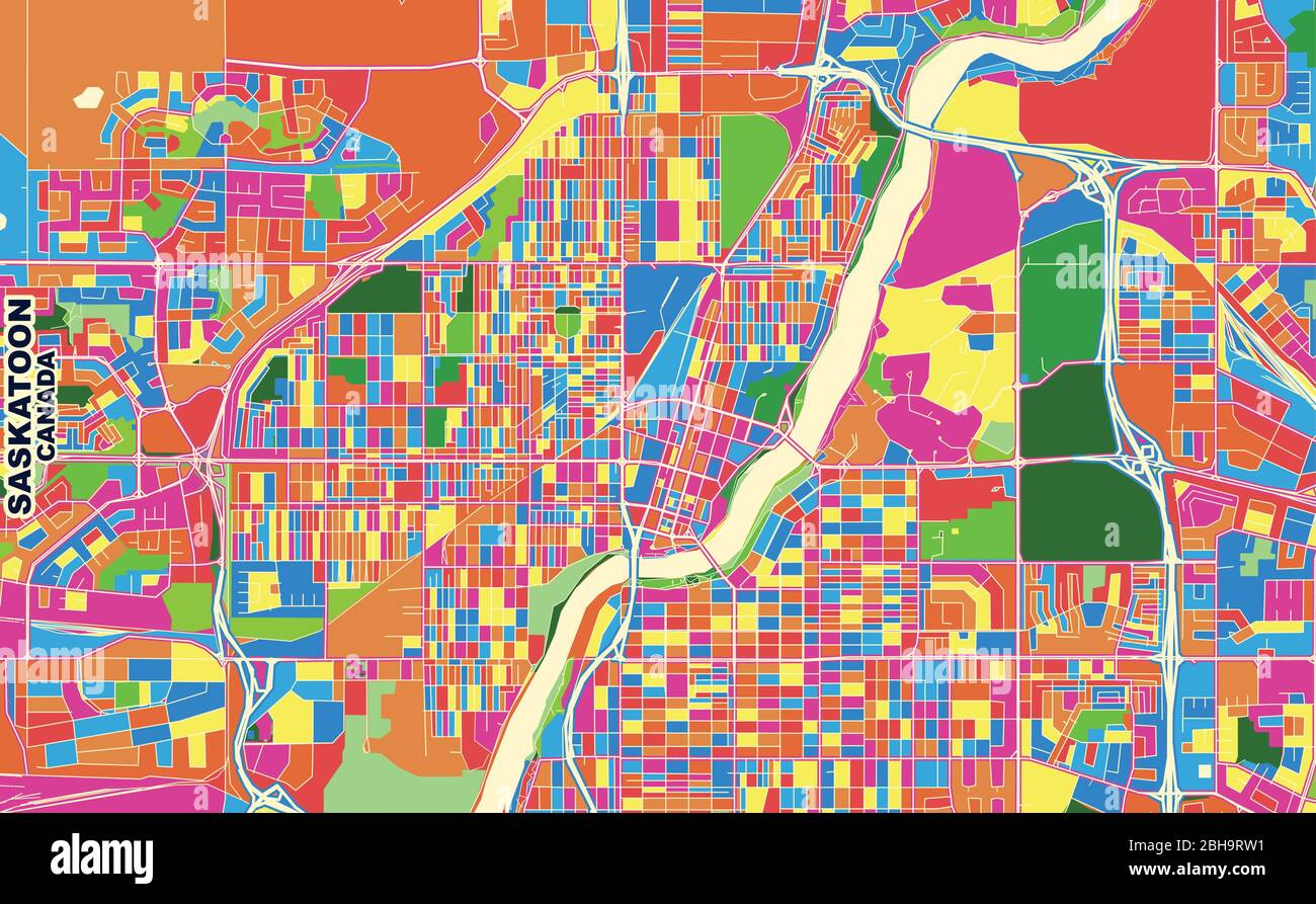 Saskatoon Saskatchewan Canada Map Colorful vector map of Saskatoon, Saskatchewan, Canada. Art Map