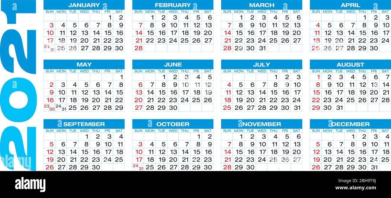 Calendar for year 2021, in vector format Stock Vector Image & Art