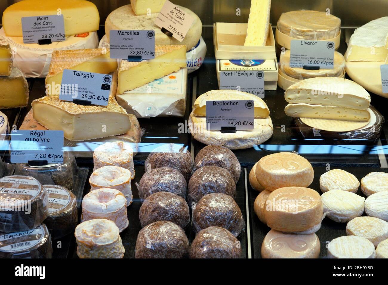 France, Alsace, Alsace Wine Route, Colmar, Market, Market Hall, Marche couvert de Colmar, Permanent Regional Market, Cheese Stand, Cheeses, Detail Stock Photo