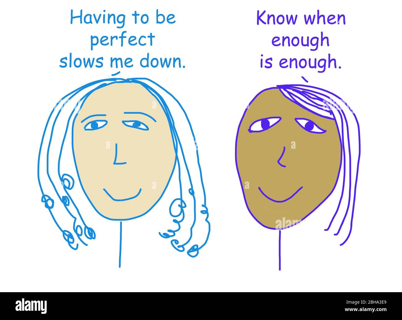 Color Cartoon Of Two Ethnically Diverse Women Talking About The