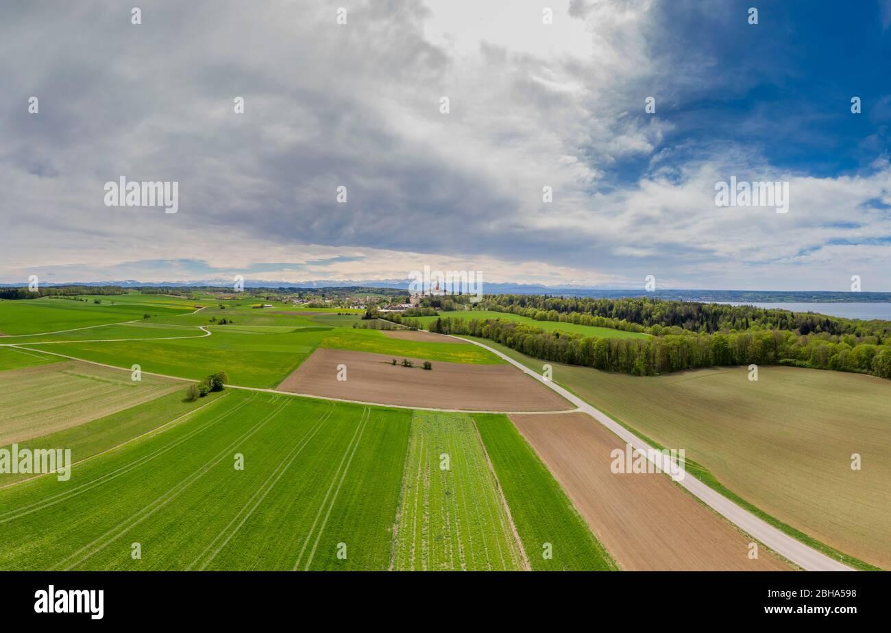 Landscape in spring at Erling - Andechs Abbey, Fünf-Seen-Land, Upper Bavaria, Bavaria, Germany, Europe Stock Photo