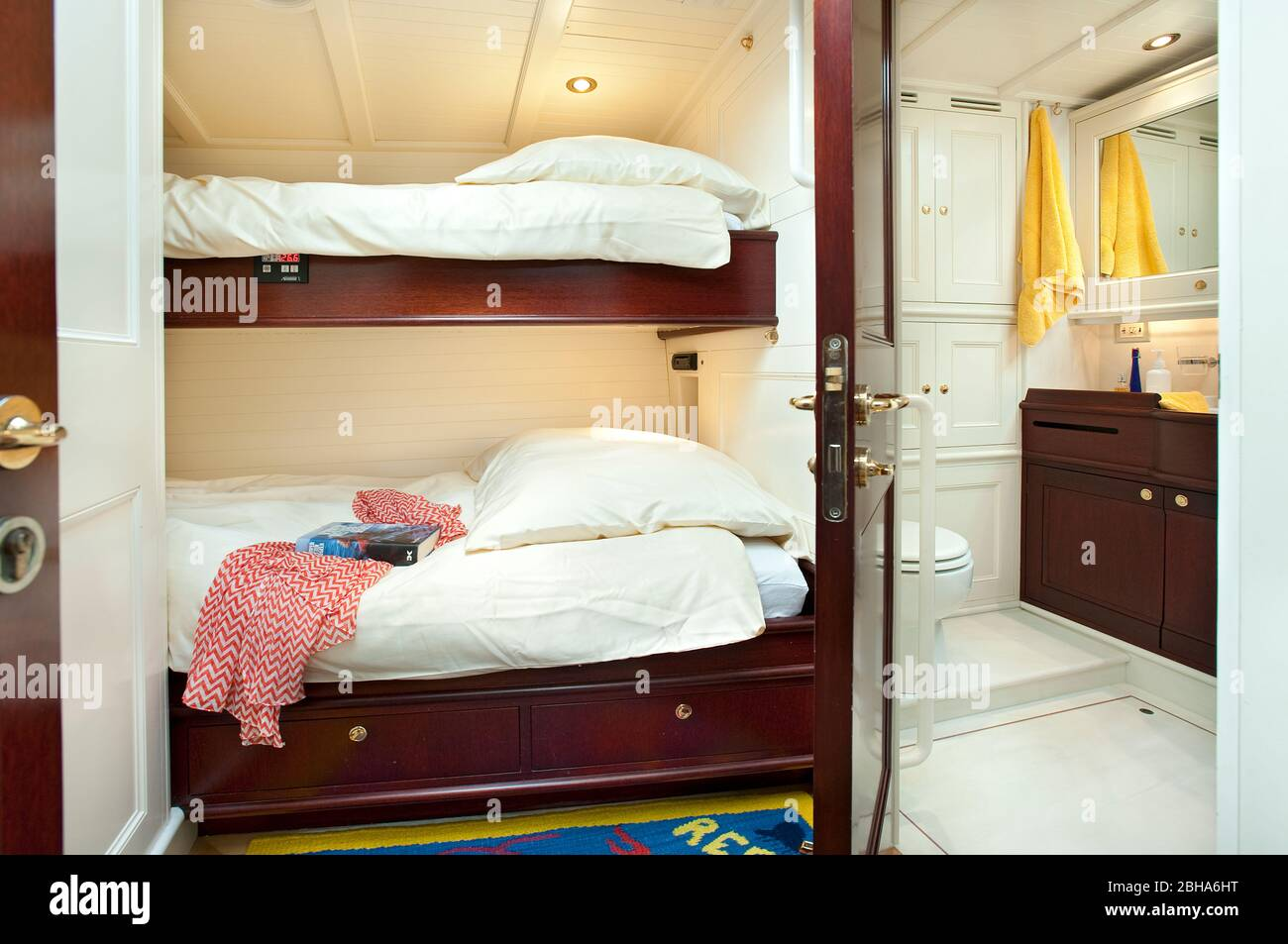 Luxury Yacht Twin Cabin Bunk Beds Showing Shower And Wc Stock Photo Alamy