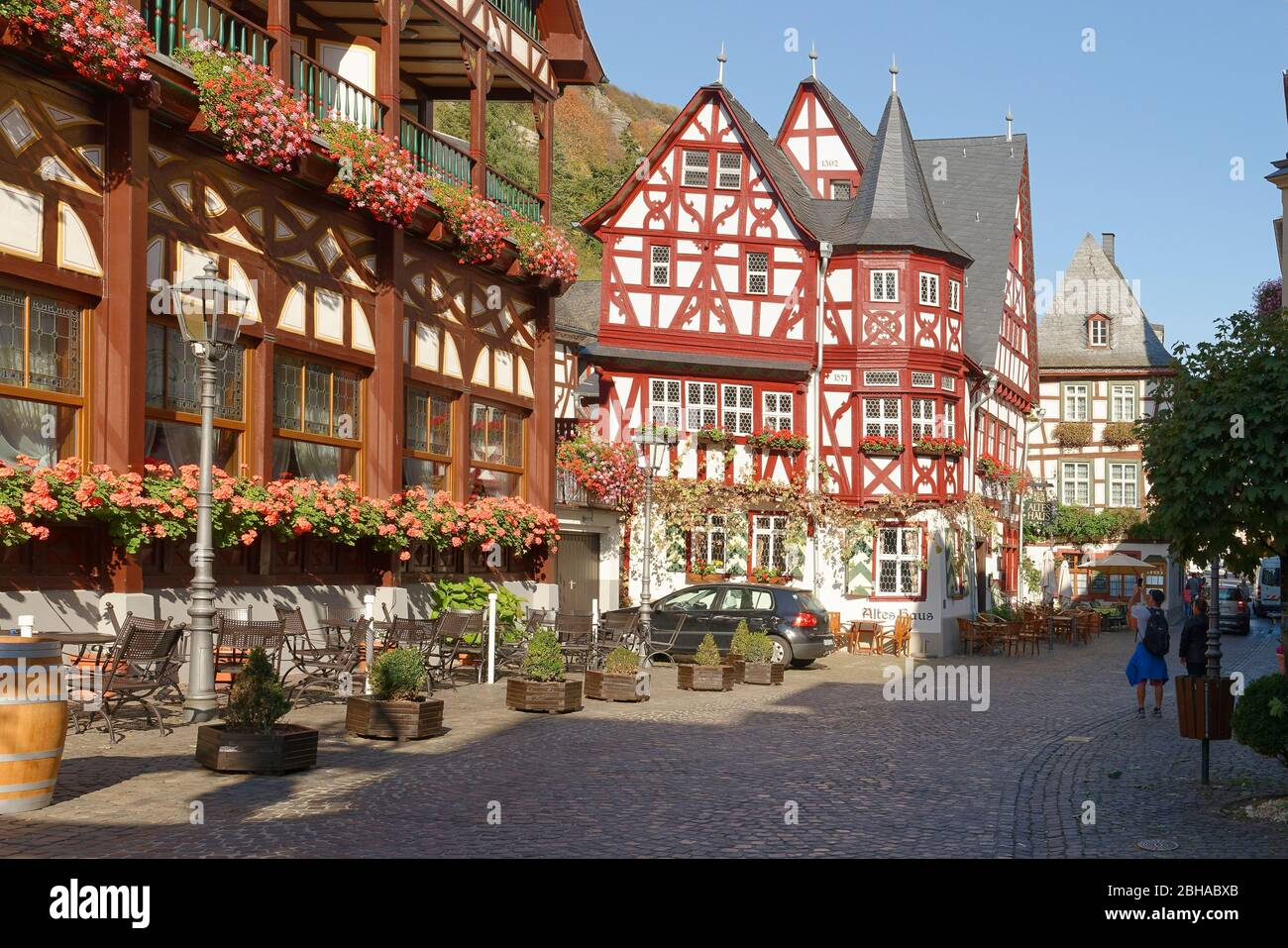 Old marketplace with half-timbered houses in Bacharach am Rhein, Bacharach, Rhine Valley, UNESCO World Heritage Upper Middle Rhine Valley, Rhineland-Palatinate, Germany Stock Photo