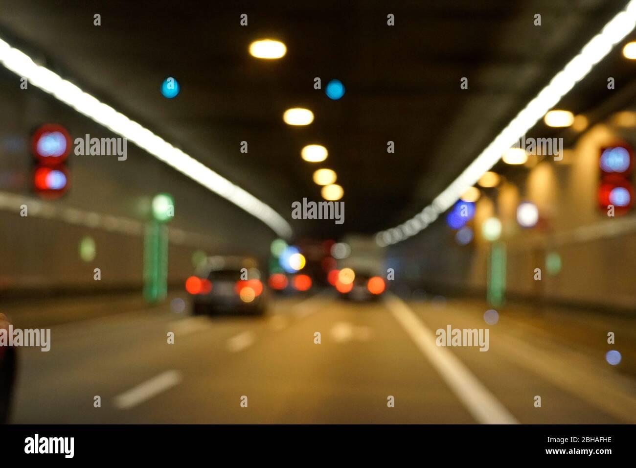 Deutschland, Bayern, München, Richard-Strauß-Straßentunnel, Verkehr, Autos, unscharf, verschwommen Stock Photo