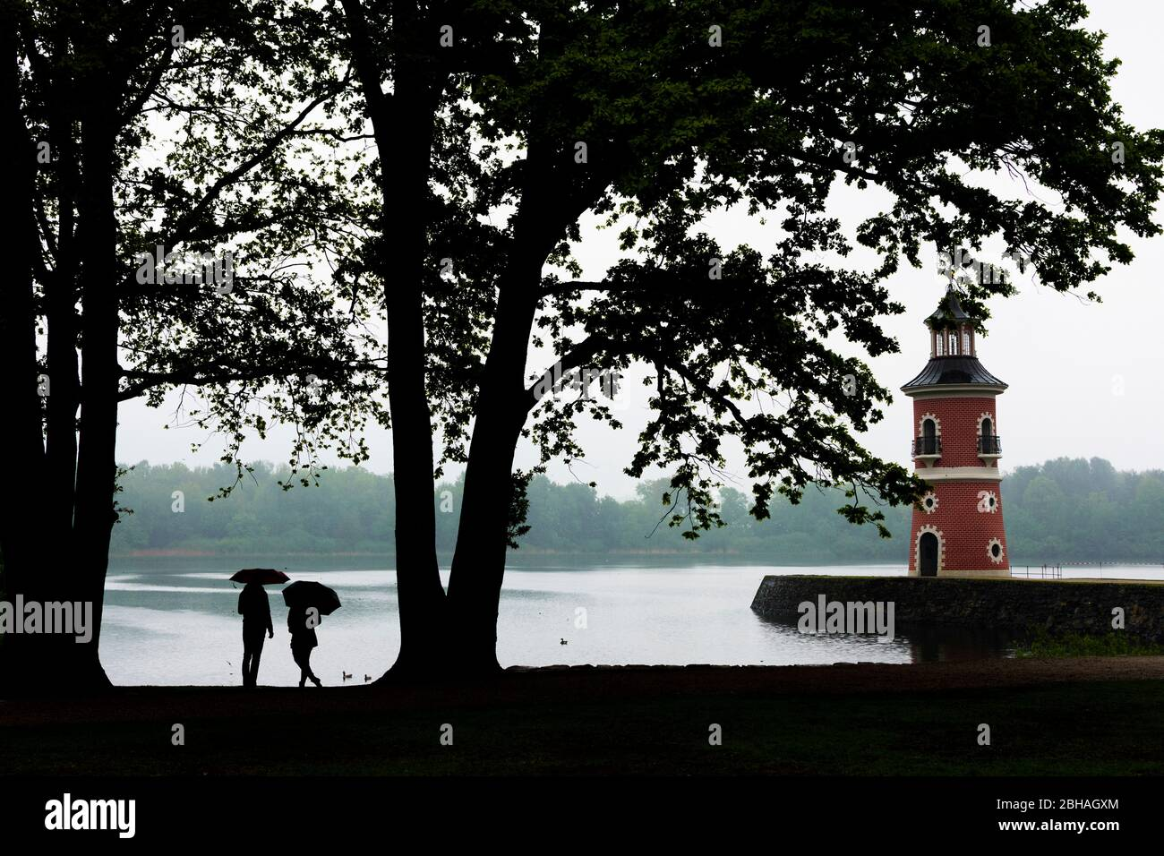 Moritzburg: Lighthouse with jetty at pond Großteich, rain, people with umbrella in, Sachsen, Saxony, Germany Stock Photo