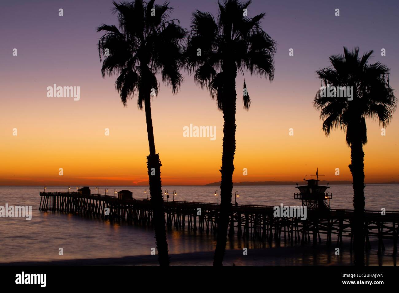 Huntington Beach Pier And Palm Trees At Sunset California Usa Stock Photo 354890865 Alamy