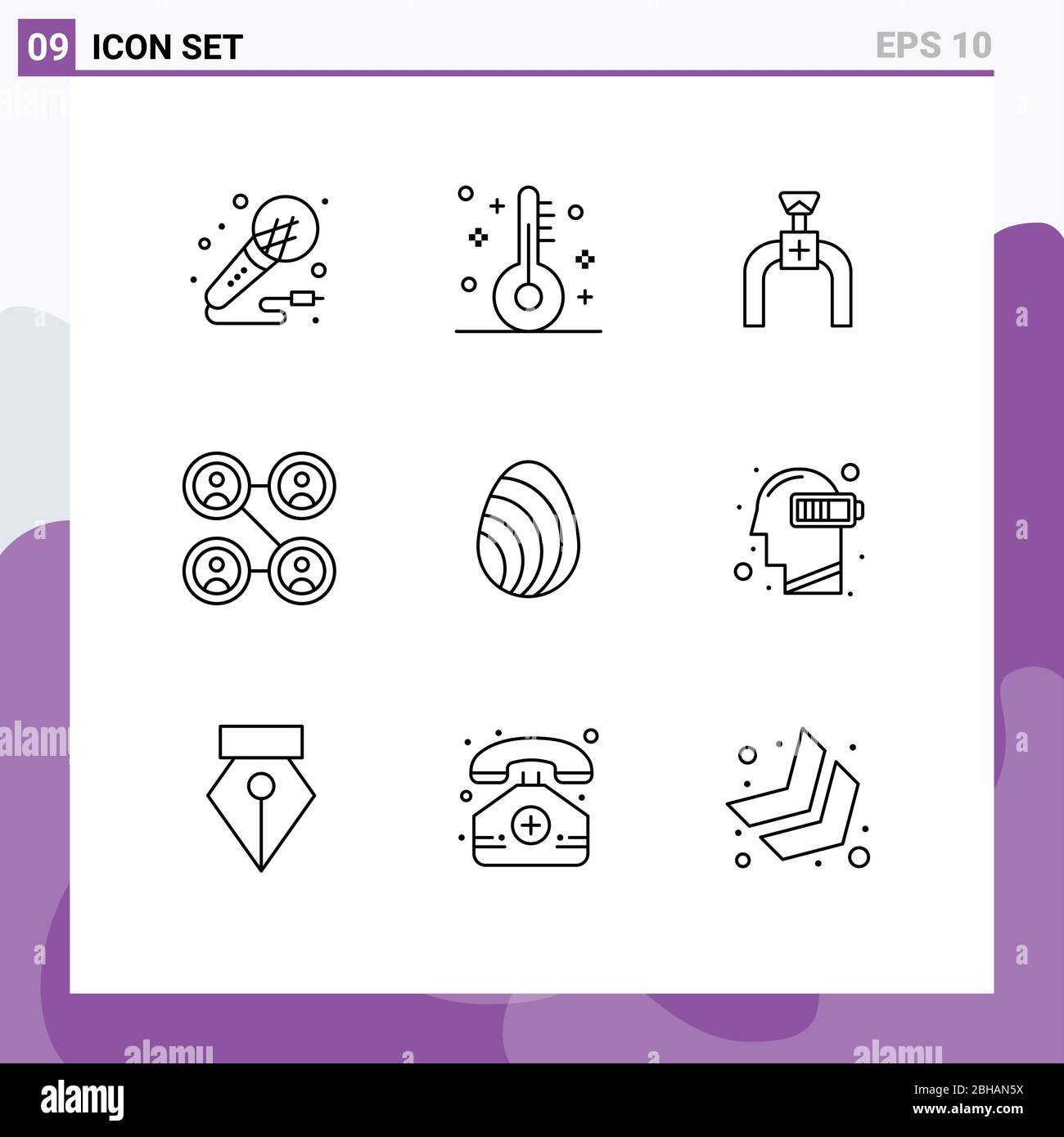 9 Outline concept for Websites Mobile and Apps eastre, social, thermometer, friends, line Editable Vector Design Elements Stock Vector