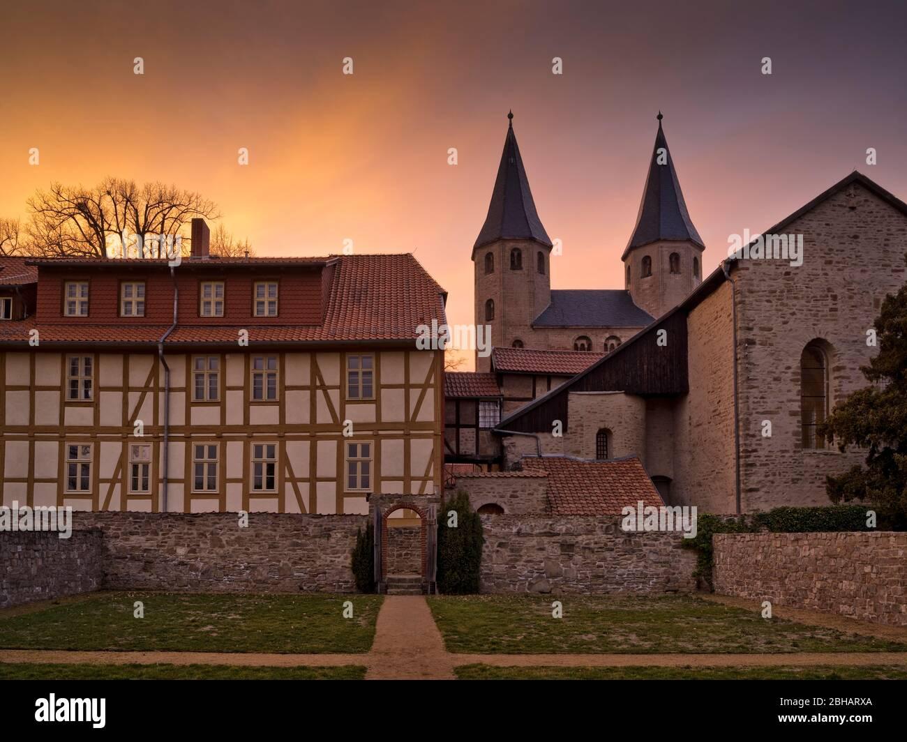 Europe, Germany, Saxony-Anhalt, Ilsenburg, Drübeck Abbey, Benedictine Convent of St. Vitus, 10th century, evening mood Stock Photo