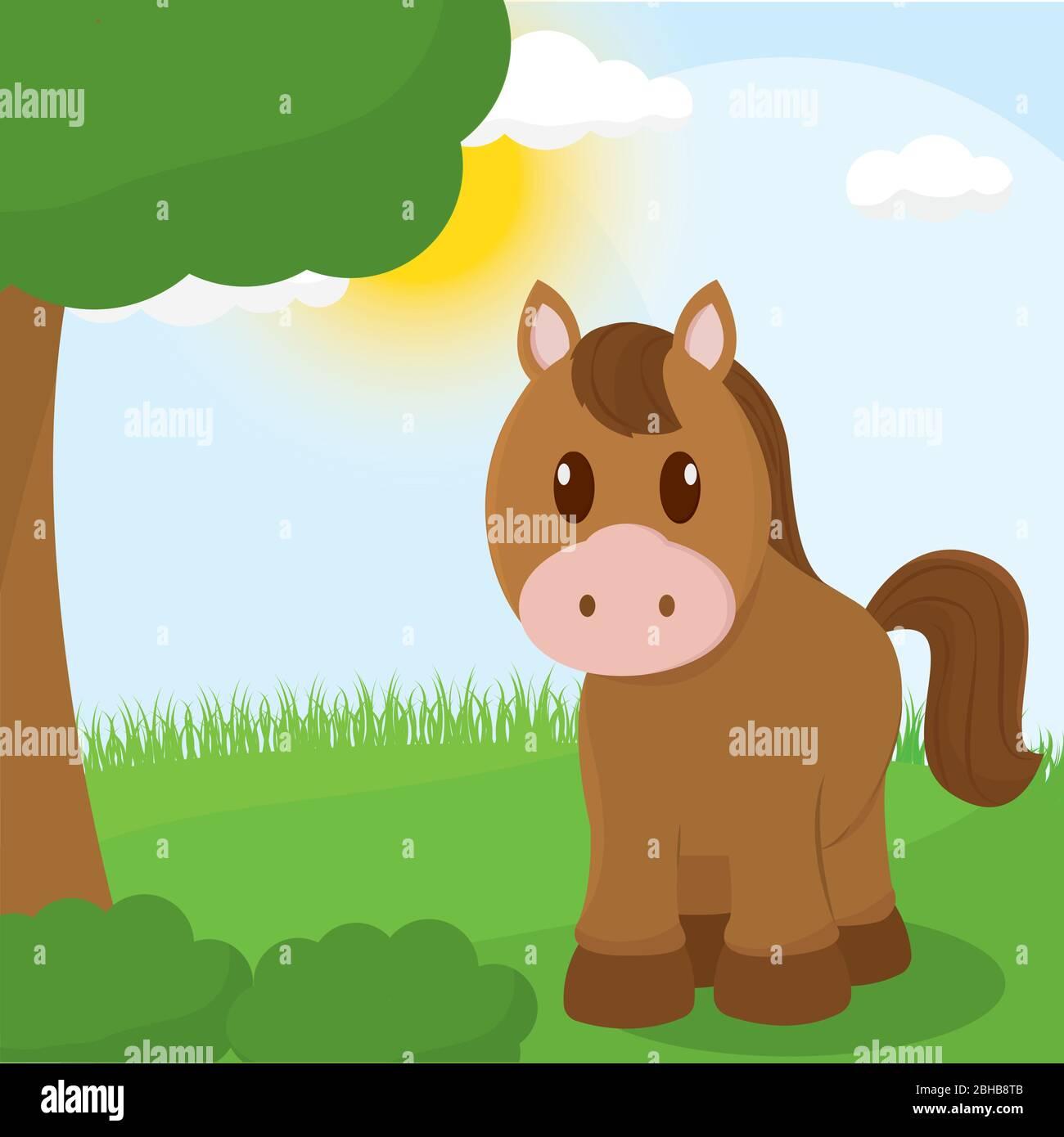 Cute Horse Cartoon Stock Vector Image Art Alamy