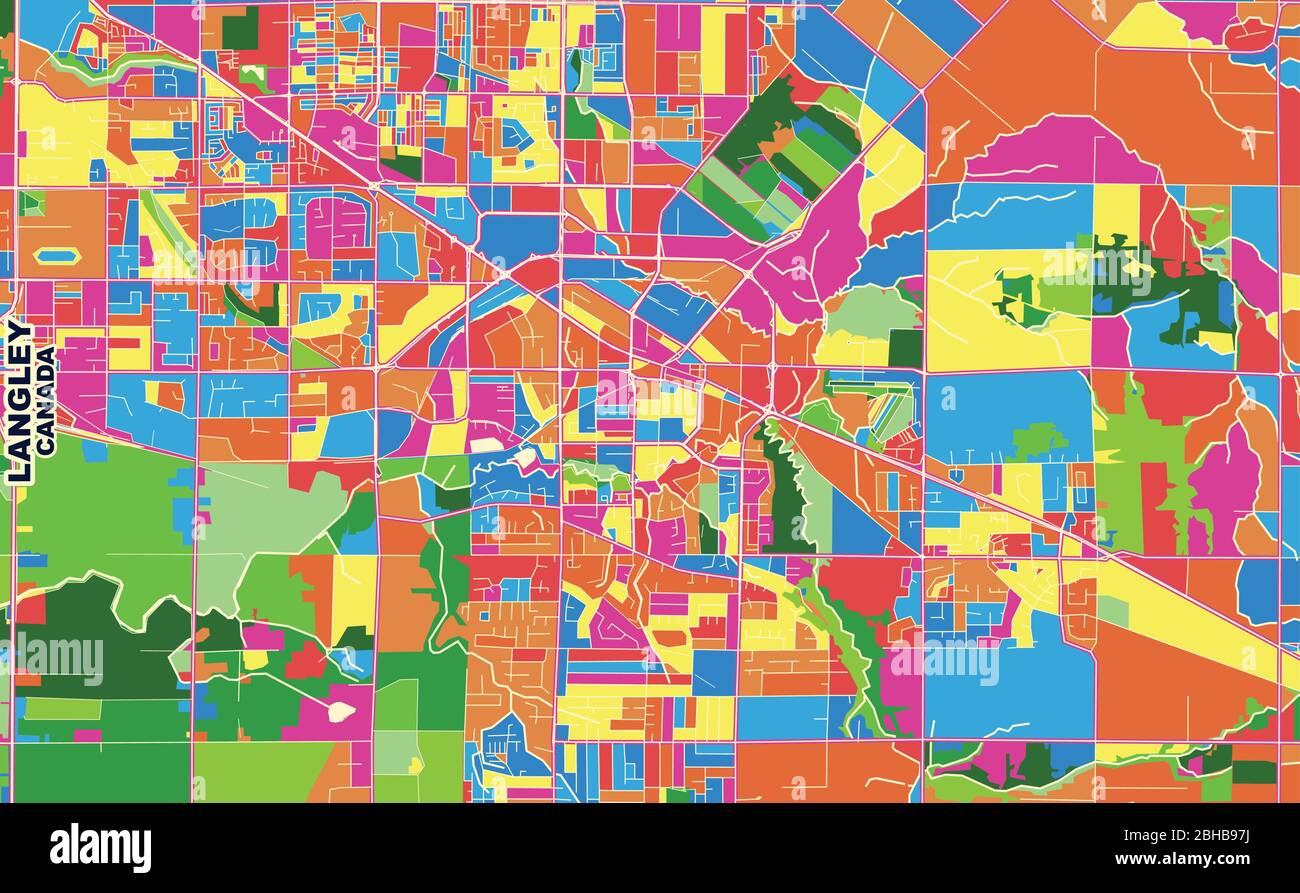 Langley British Columbia Canada Map Colorful vector map of Langley, British Columbia, Canada. Art Map