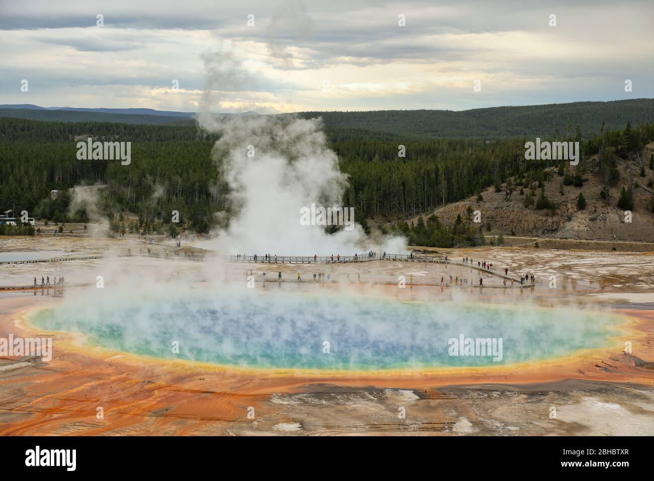 Aerial view of Grand Prismatic Spring in Midway Geyser Basin, Yellowstone National Park, Wyoming, USA. It is the largest hot spring in the United Stat Stock Photo