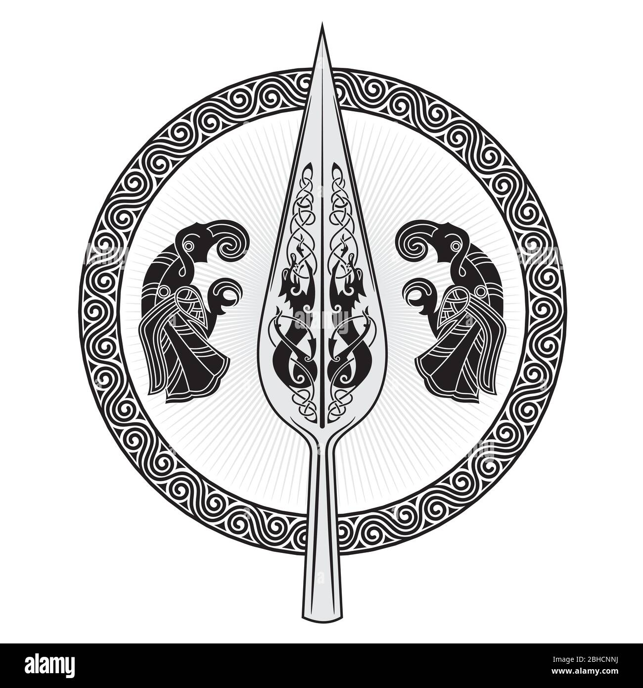 The Spear Of The God Odin Gungnir Two Ravens And Scandinavian Pattern Stock Vector Image Art Alamy Awp | gungnir details including prices, case or collection info, stattrak or souvenir, steam, bitskins, opskins and g2a links. https www alamy com the spear of the god odin gungnir two ravens and scandinavian pattern image354937006 html