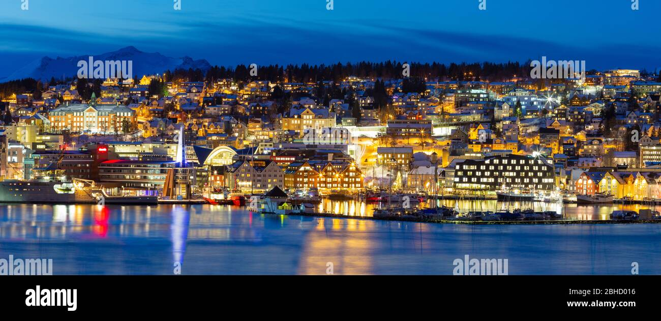 Panoramic view on Tromso By Polar Night,  Winter Time, Christmas in Tromso, Norway Stock Photo