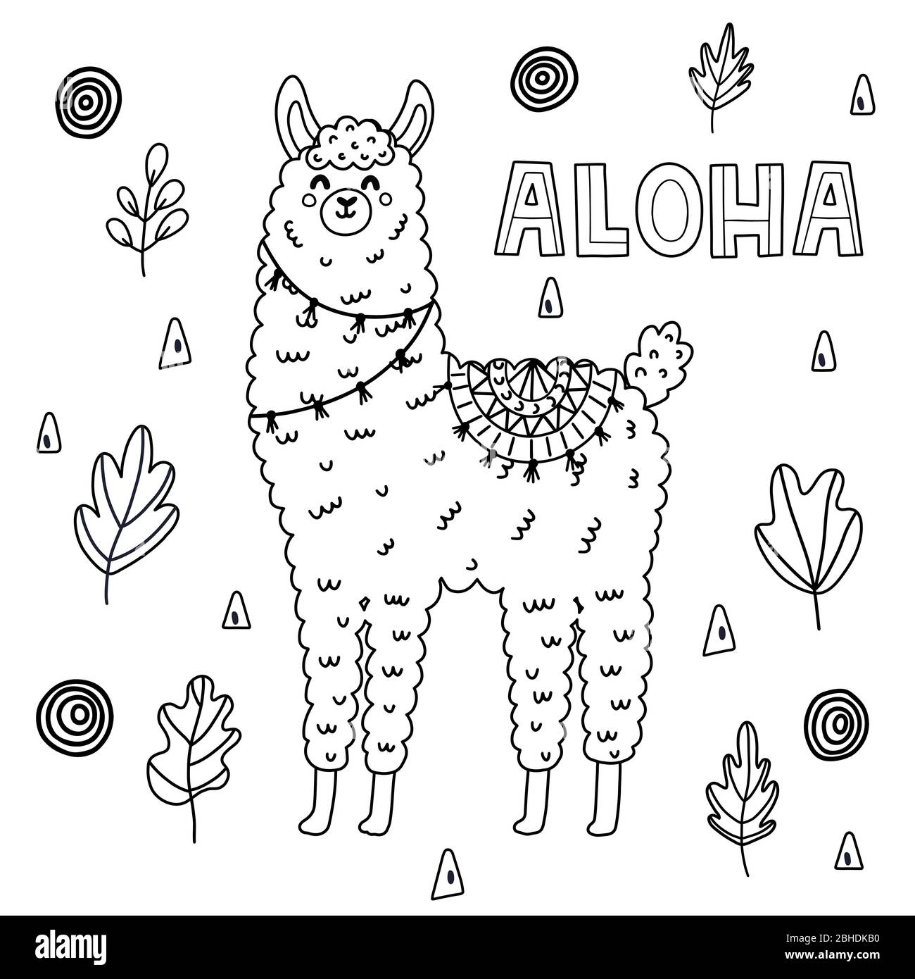 Coloring Page Cartoon Lama Lama Coloring Adults Children — Stock ... | 1390x1300