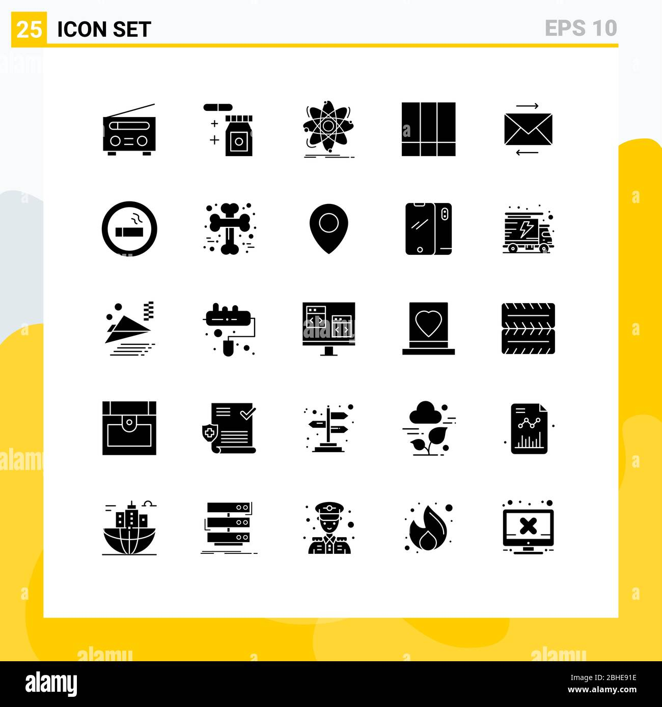 25 Thematic Vector Solid Glyphs and Editable Symbols of share, lines, science, layout, grid Editable Vector Design Elements Stock Vector