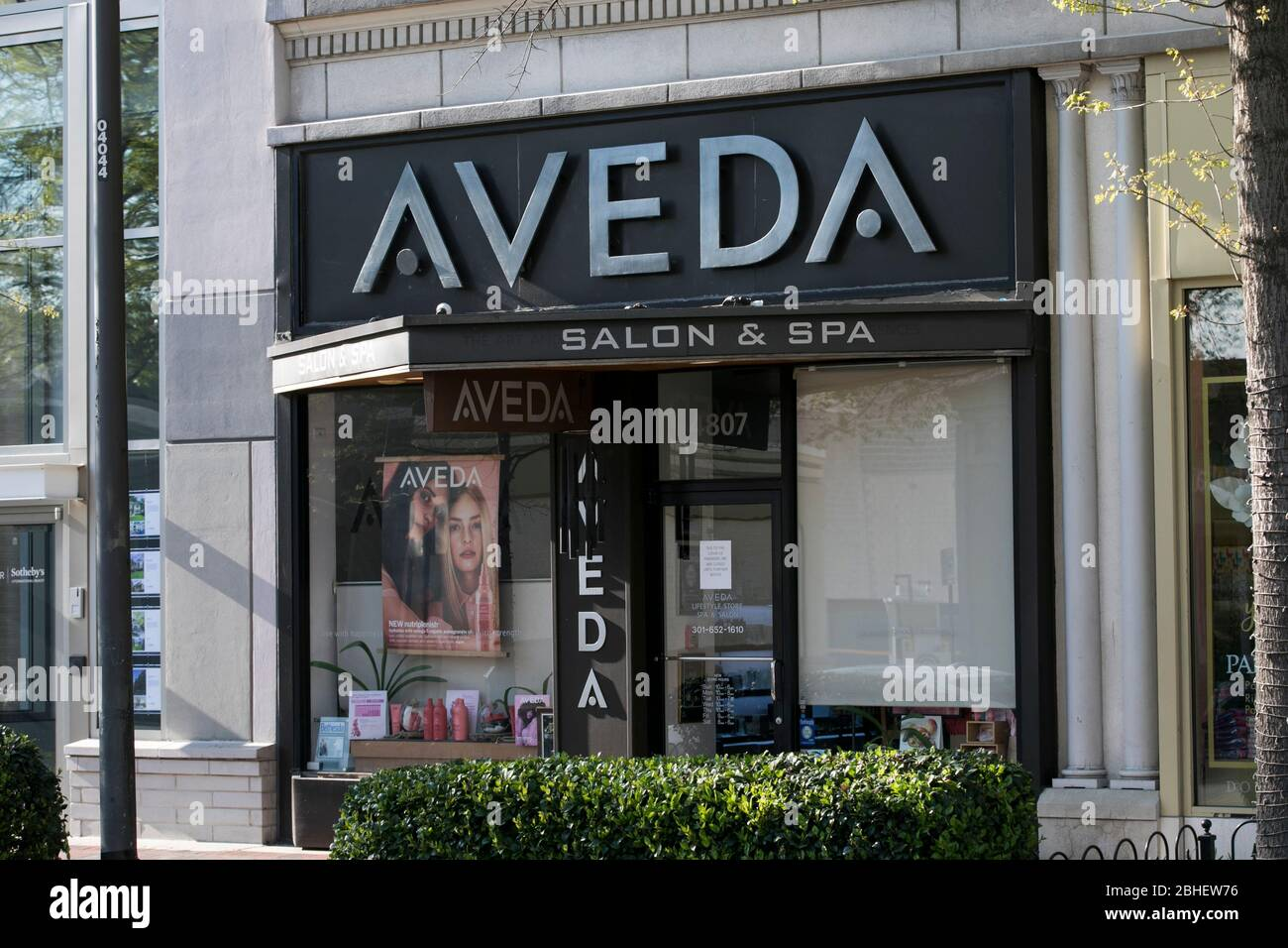 A Logo Sign Outside Of A Aveda Salon And Spa Location In Bethesda Maryland On April 22 2020 Stock Photo Alamy
