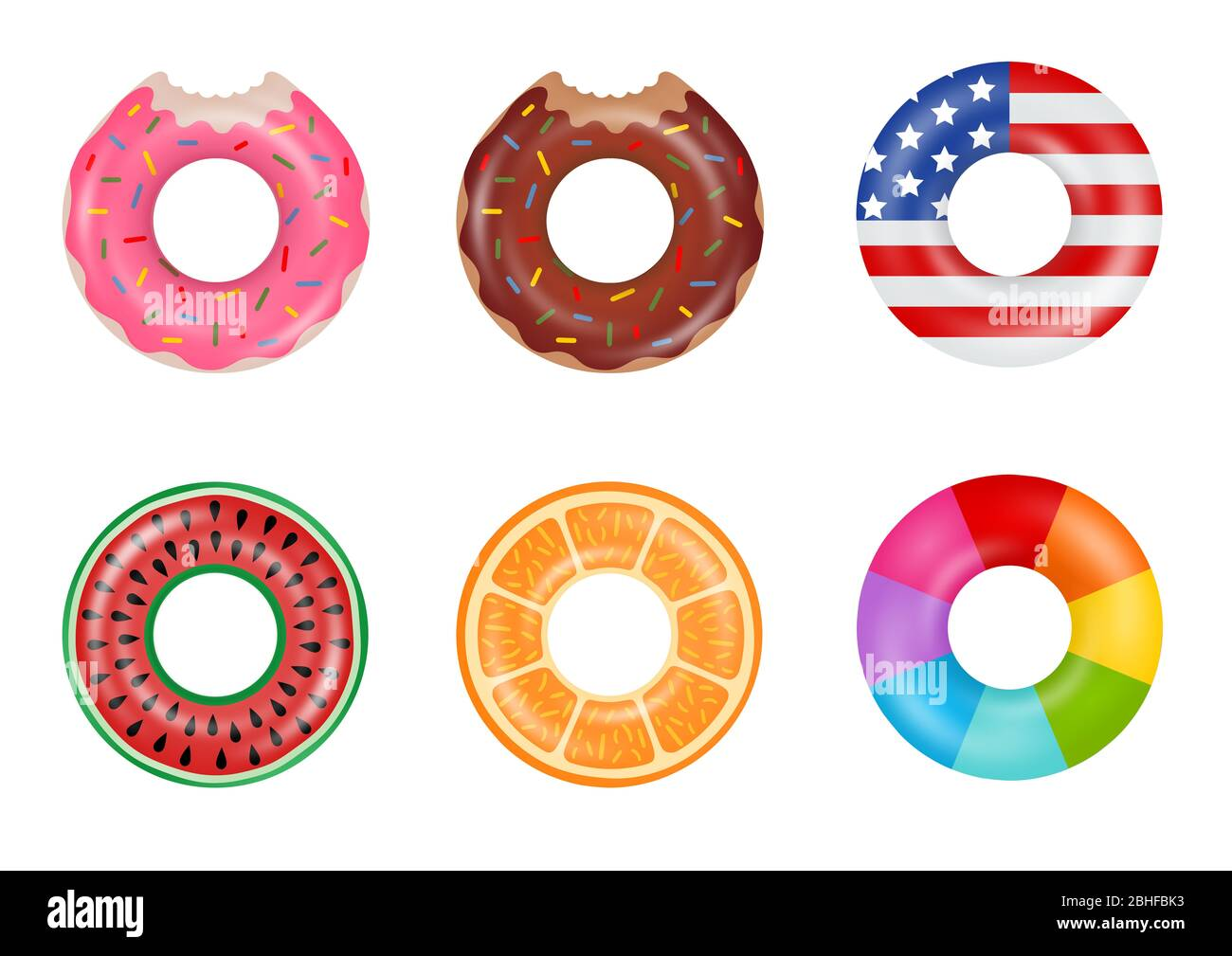 Set of colorful swimming rings. Inflatable doughnut, american flag, watermelon, orange and rainbow. Floating rubber toys. Stock Photo