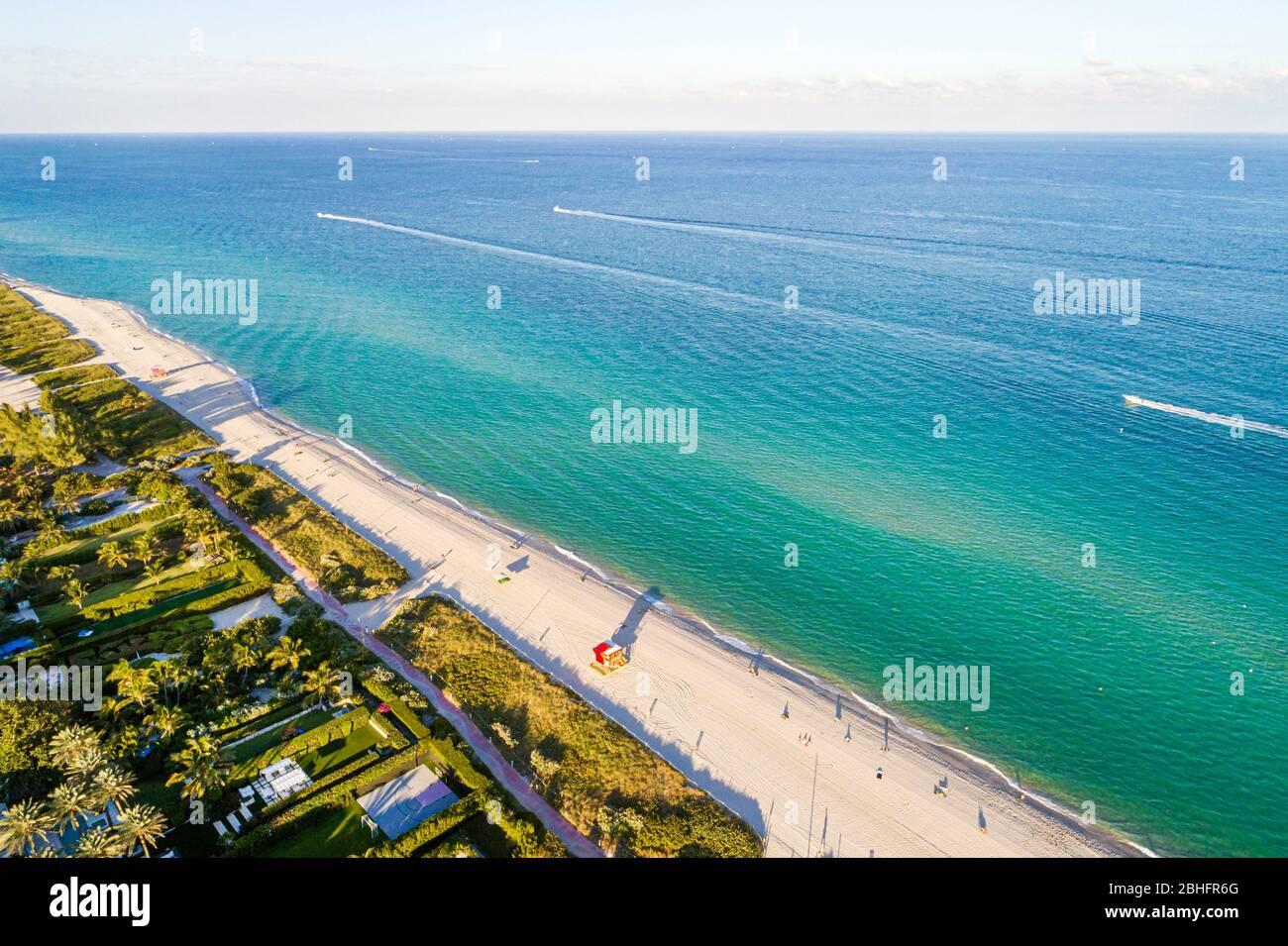 Florida Miami Beach Atlantic Ocean public aerial overhead bird's eye view above North Beach sand water surf Stock Photo