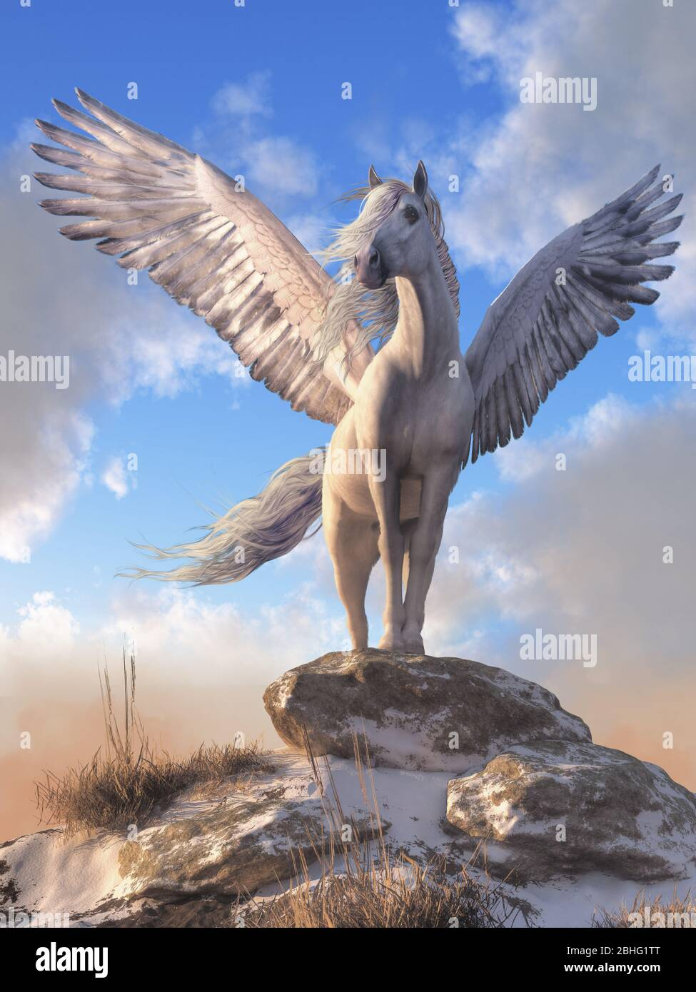 Pegasus The All White Horse With Wings From Greek Mythology Stands Atop A Rock Covered Hill Top His White Feathered Wings Spread Wide 3d Rendering Stock Photo Alamy
