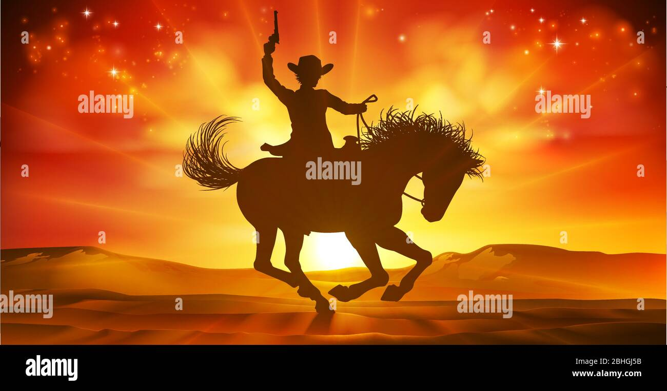 Cowboy Riding Horse Silhouette Sunset Background Stock Vector Image Art Alamy