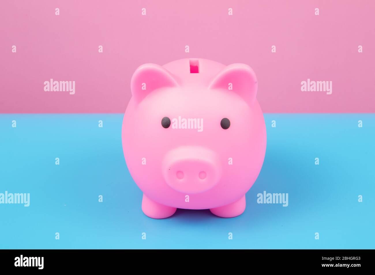Pink Piggy bank on harmony background. Stock Photo