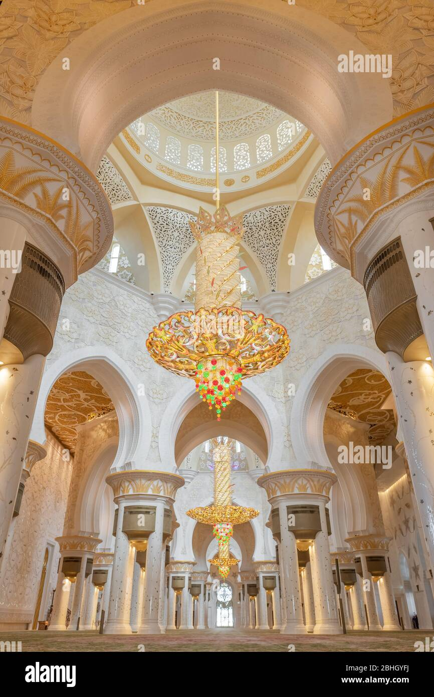 Interior Sheikh Zayed Mosque And Biggest In The World Chandelier In Abu Dhabi Stock Photo Alamy