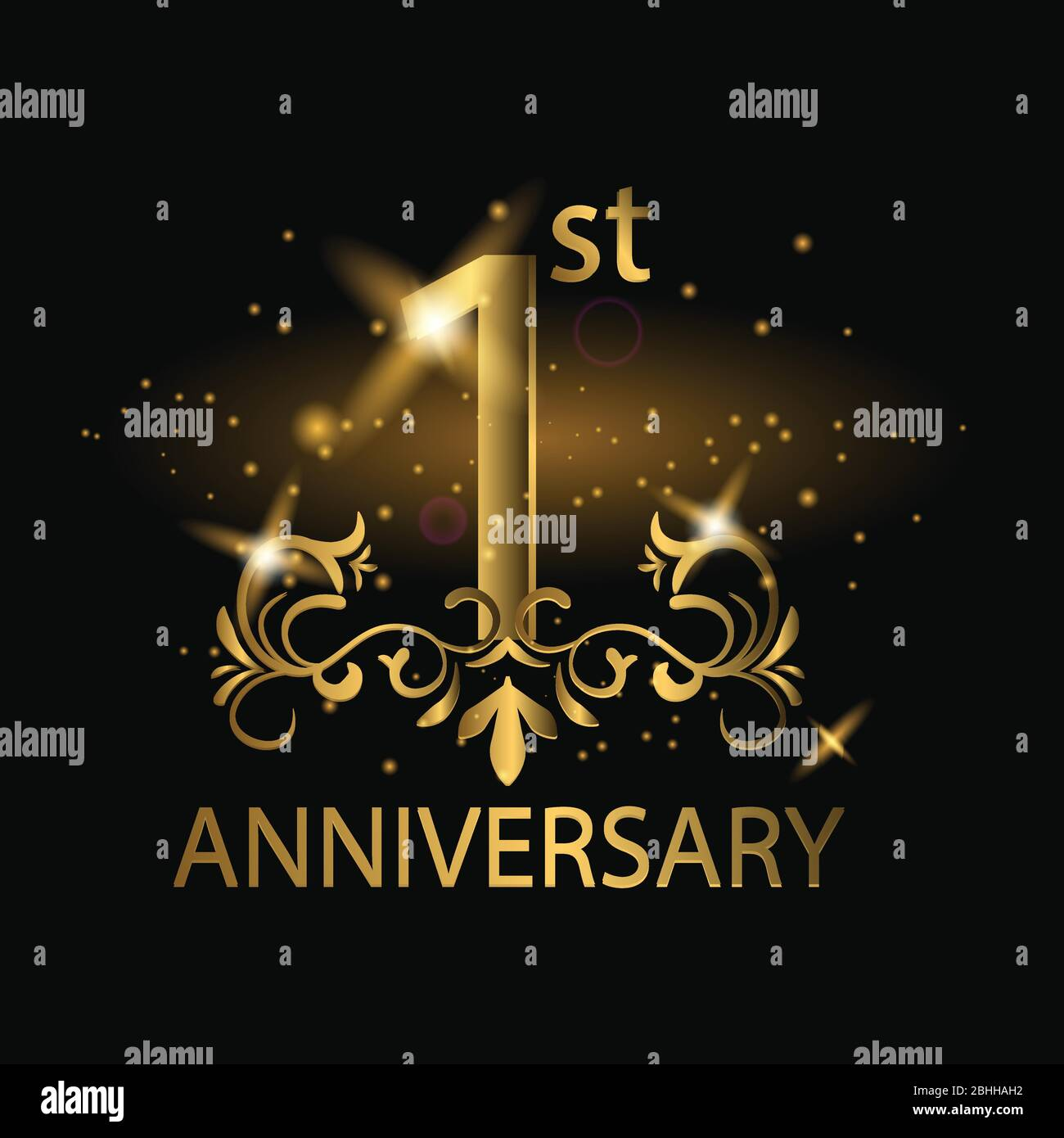 1st years anniversary celebration 1st anniversary logo with gold color foil sparkle stock vector image art alamy alamy