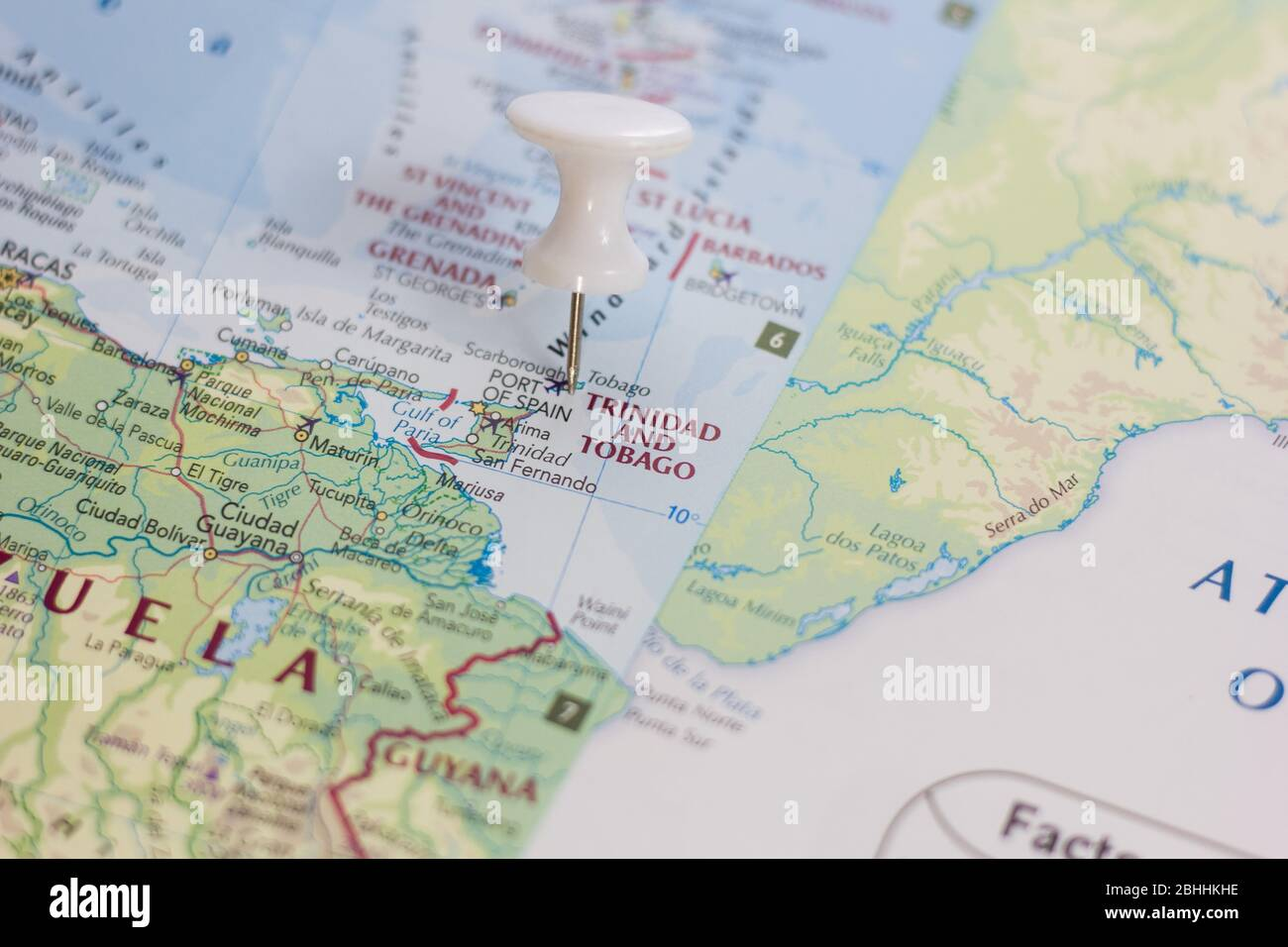 Trinidad And Tobago On The Map Of The World Or Atlas Stock Photo Alamy