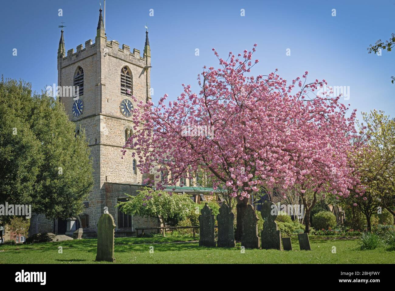 Spring view of Hucknall Church in the county of Nottinghamshire Local history includes the graves of poet Lord Byron and daughter Ada Lovelace. Stock Photo