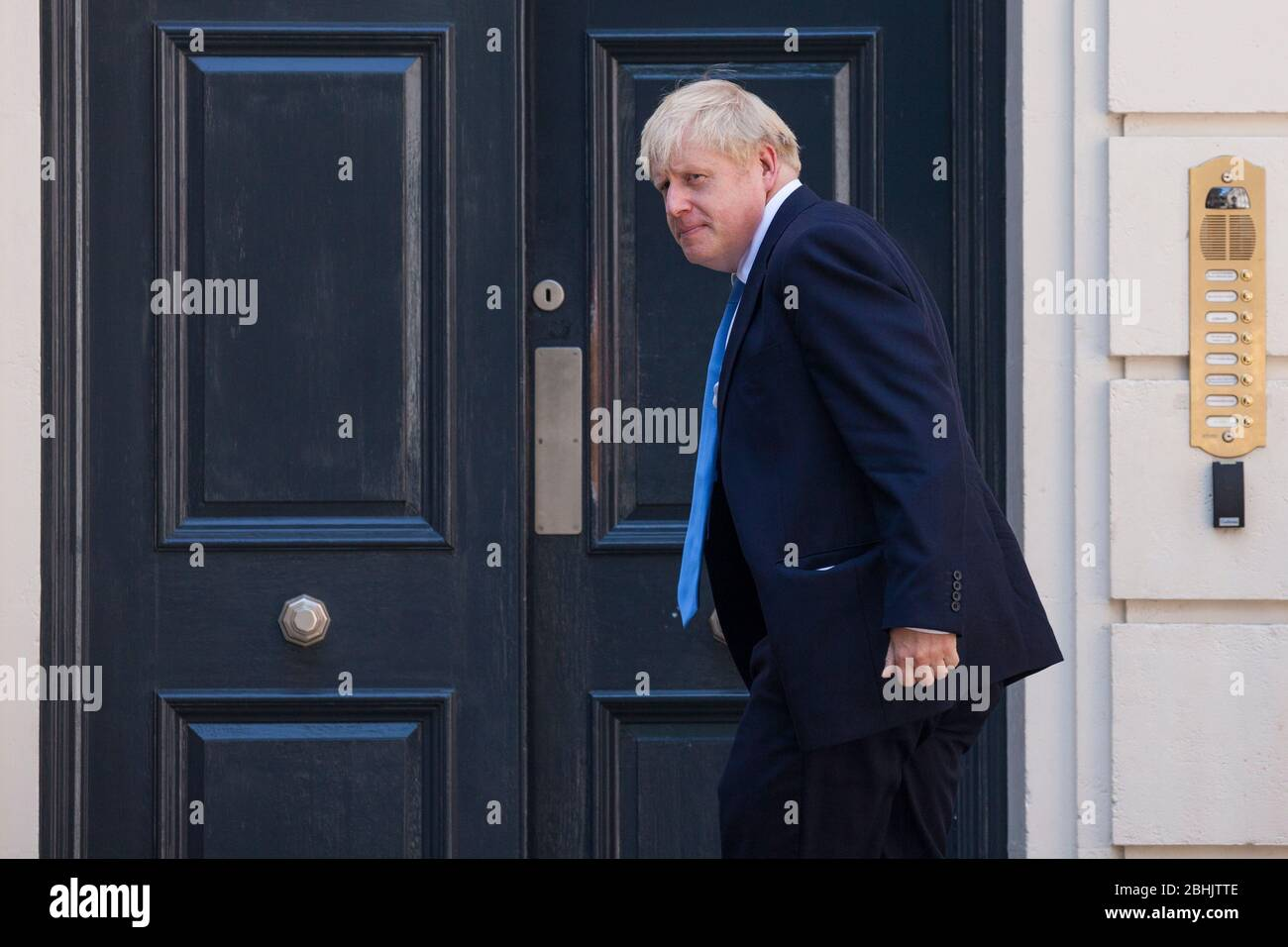 London, UK. 23 July, 2019.  Boris Johnson arrives at the headquarters of the Conservative Party following the announcement that he had been elected as the party leader and would replace Theresa May as Prime Minister. Credit: Mark Kerrison/Alamy Live News Stock Photo