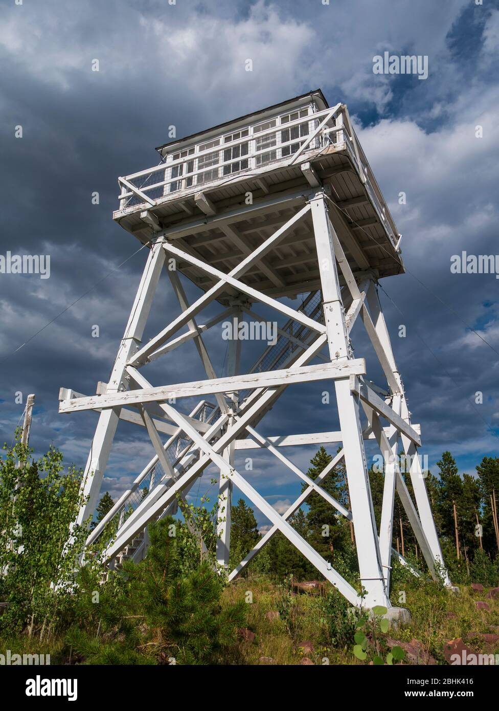 Ute Mountain Fire Lookout Tower National Historic Site, Ashley National Forest near Manila, Utah. Stock Photo