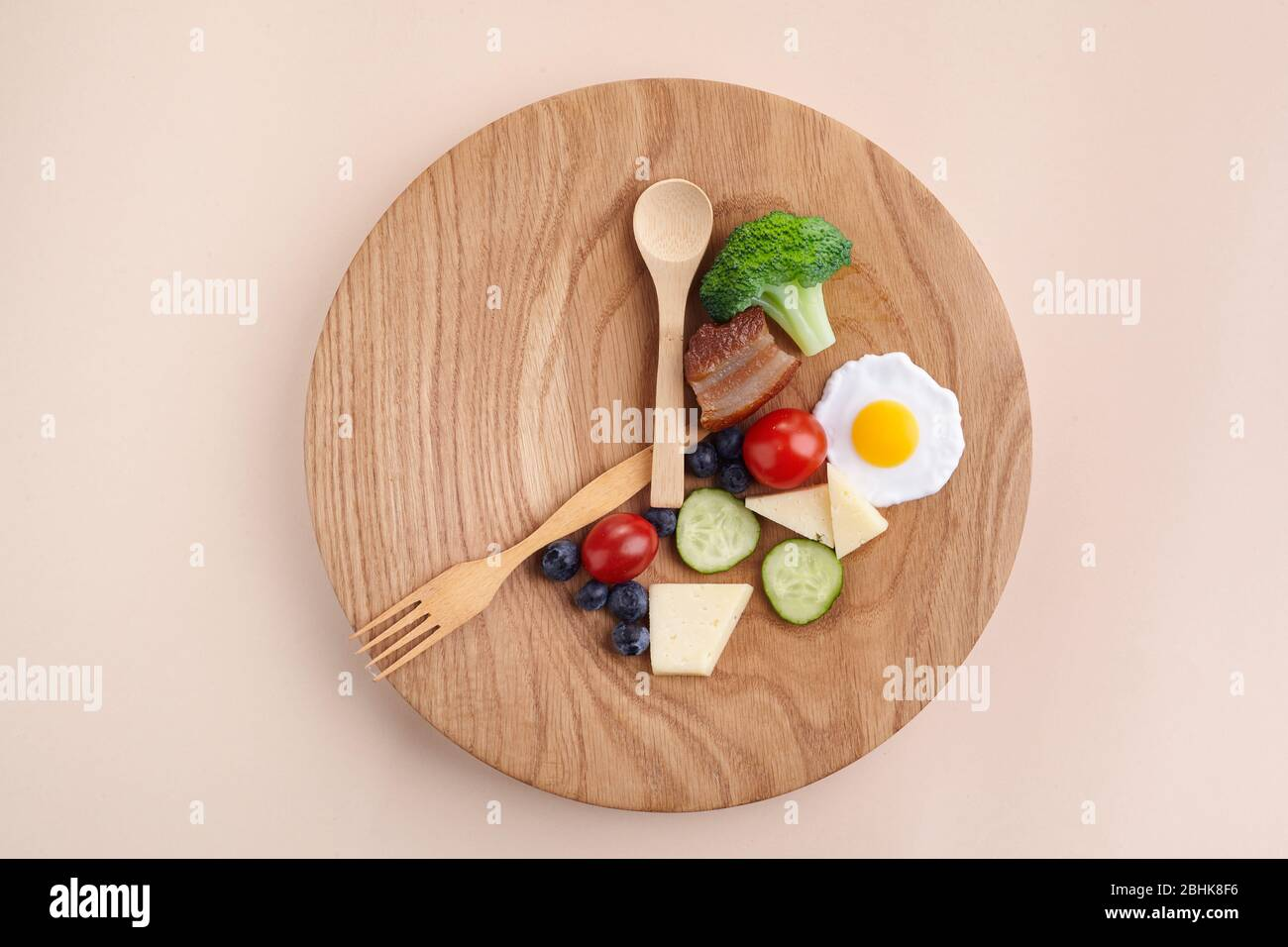 Intermittent fasting. Healthy breakfast, diet food concept. Organic meal. Fat loss concept. Weight loss. Stock Photo